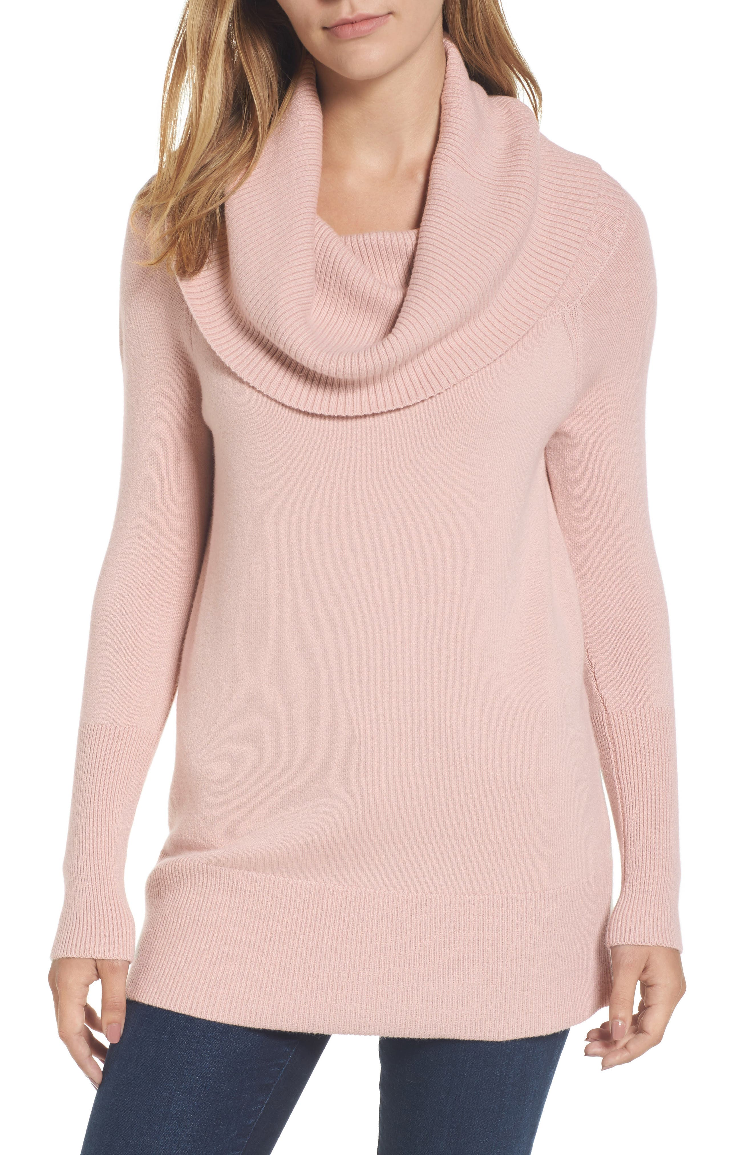 Convertible Neck Sweater,                         Main,                         color, Pink Adobe