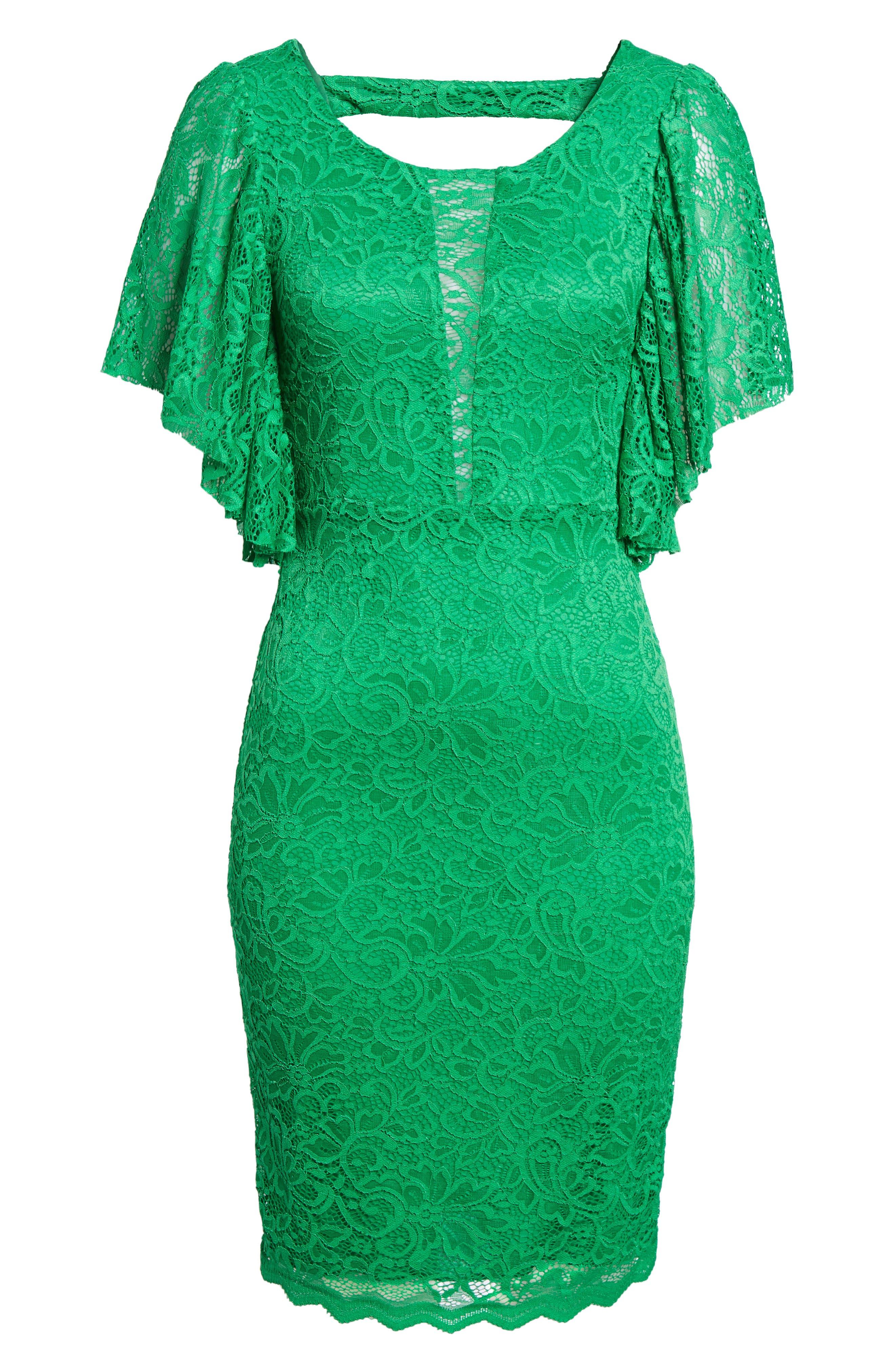 Lace Sheath Dress,                             Alternate thumbnail 6, color,                             Kelly Green