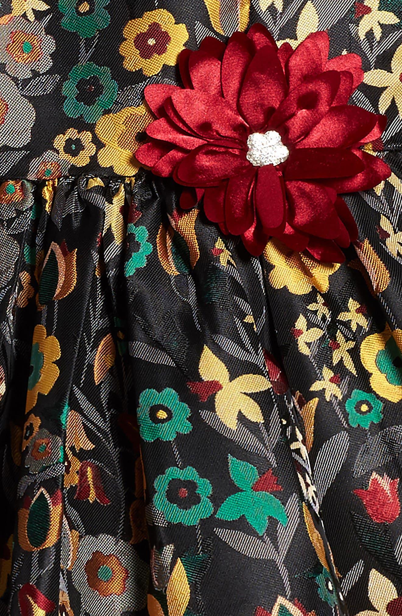 Floral Brocade Dress,                             Alternate thumbnail 3, color,                             Gold Floral Multi