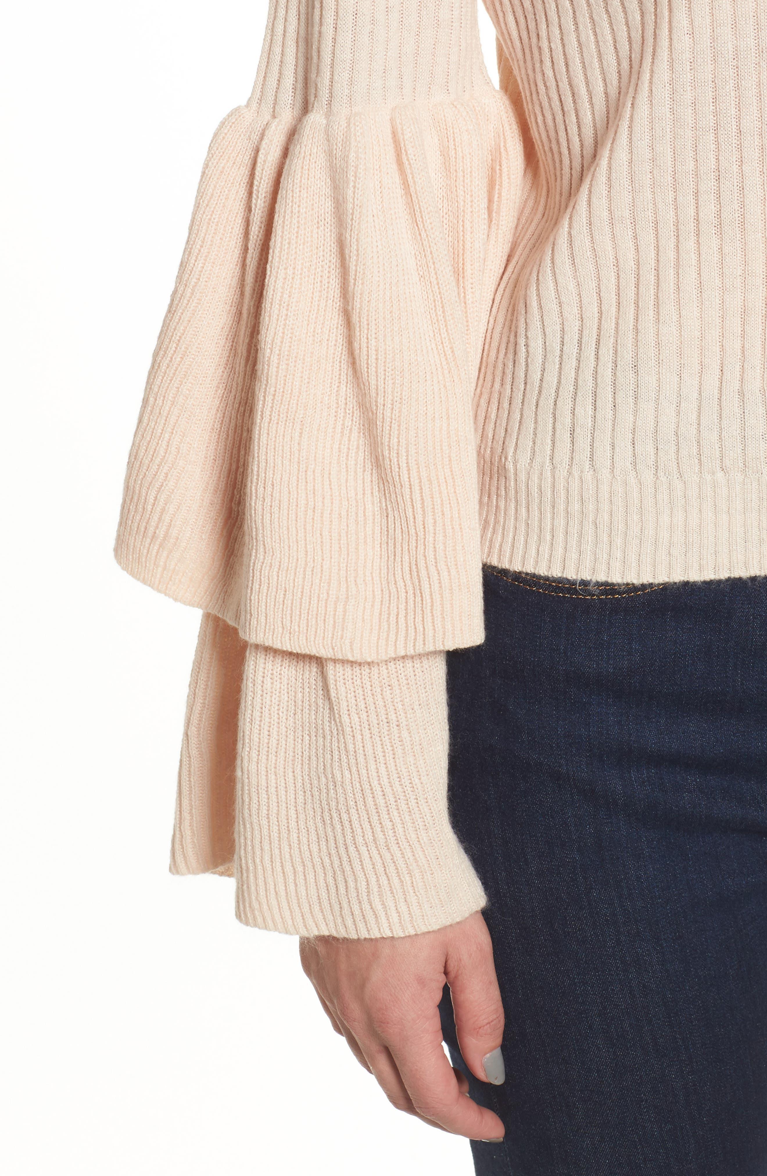 Tiara Bell Sleeve Sweater,                             Alternate thumbnail 4, color,                             Blush