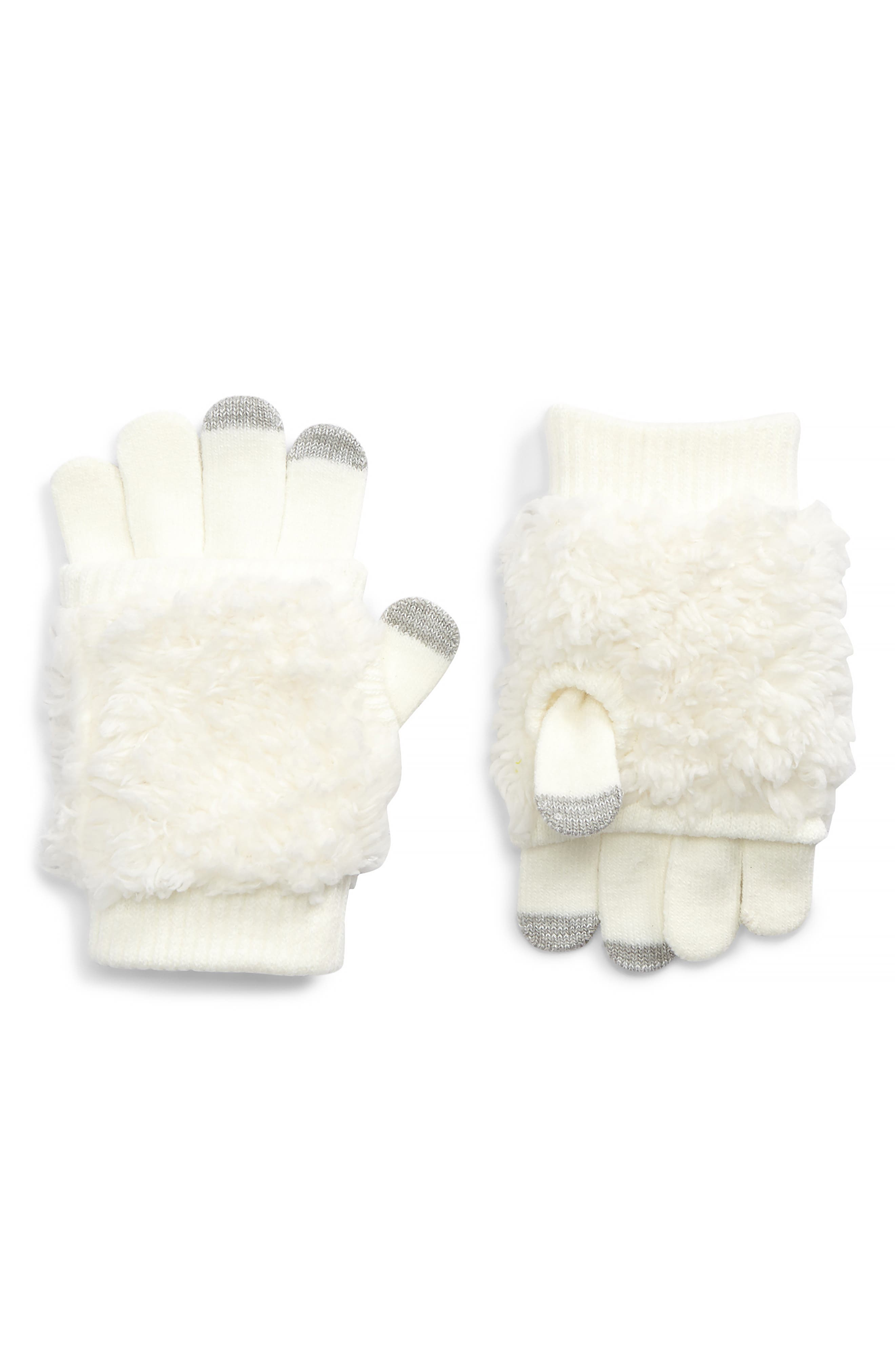Bunny Convertible Gloves,                             Main thumbnail 1, color,                             Ivory