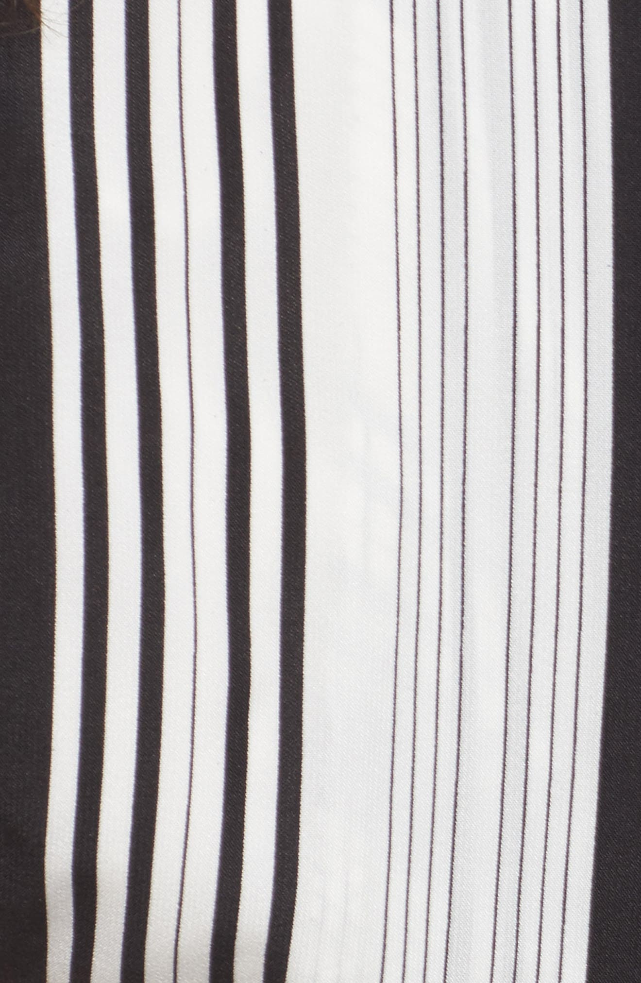 One-Shoulder Tie Waist Shirt,                             Alternate thumbnail 5, color,                             Black/ White Stripe