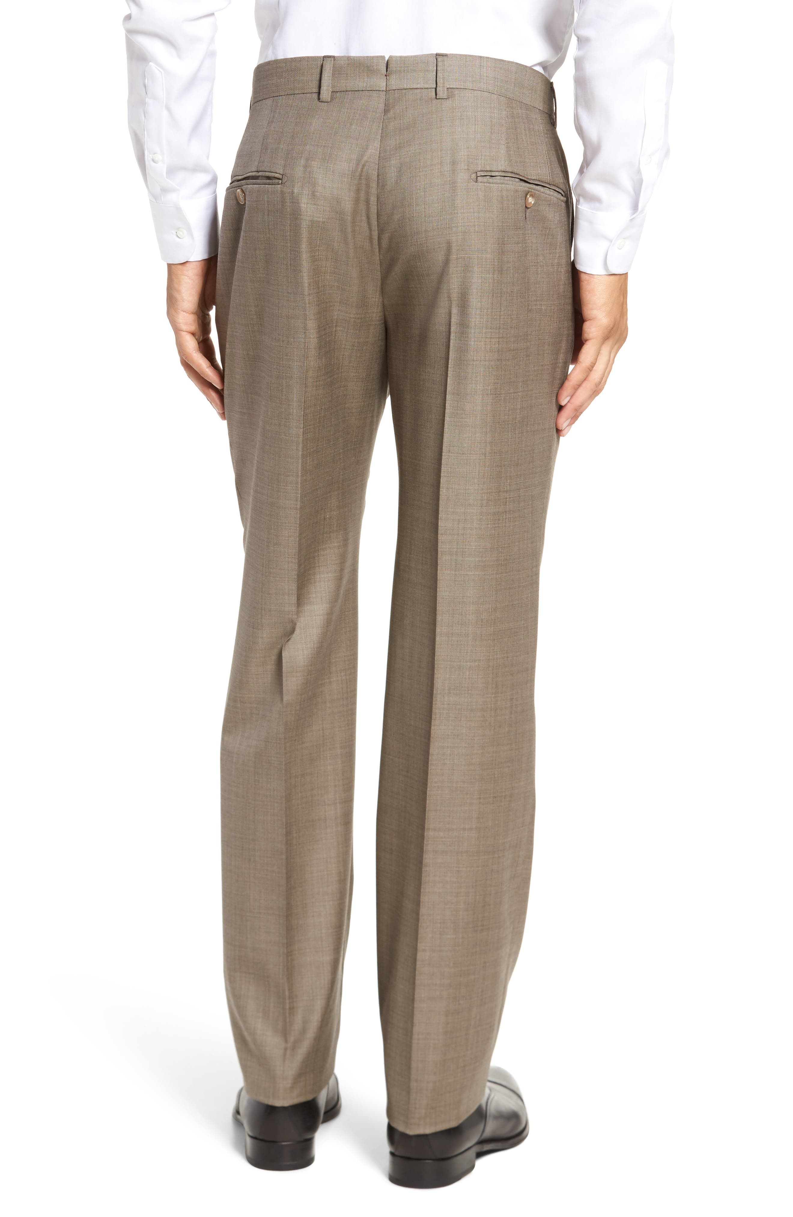Classic B Fit Flat Front Solid Wool Trousers,                             Alternate thumbnail 2, color,                             Tan Sharkskin