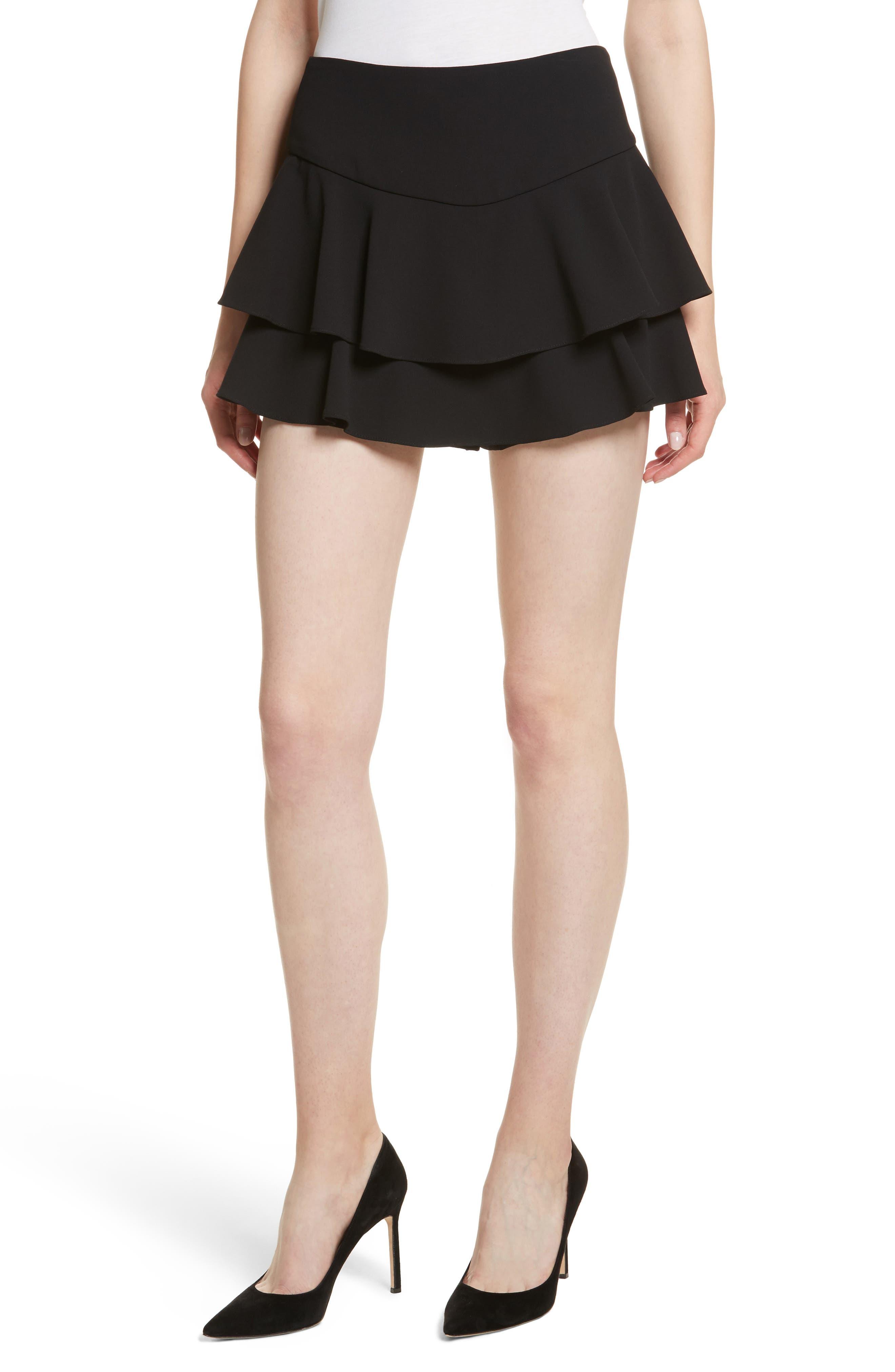 Paloma Ruffle Skort,                             Main thumbnail 1, color,                             Black