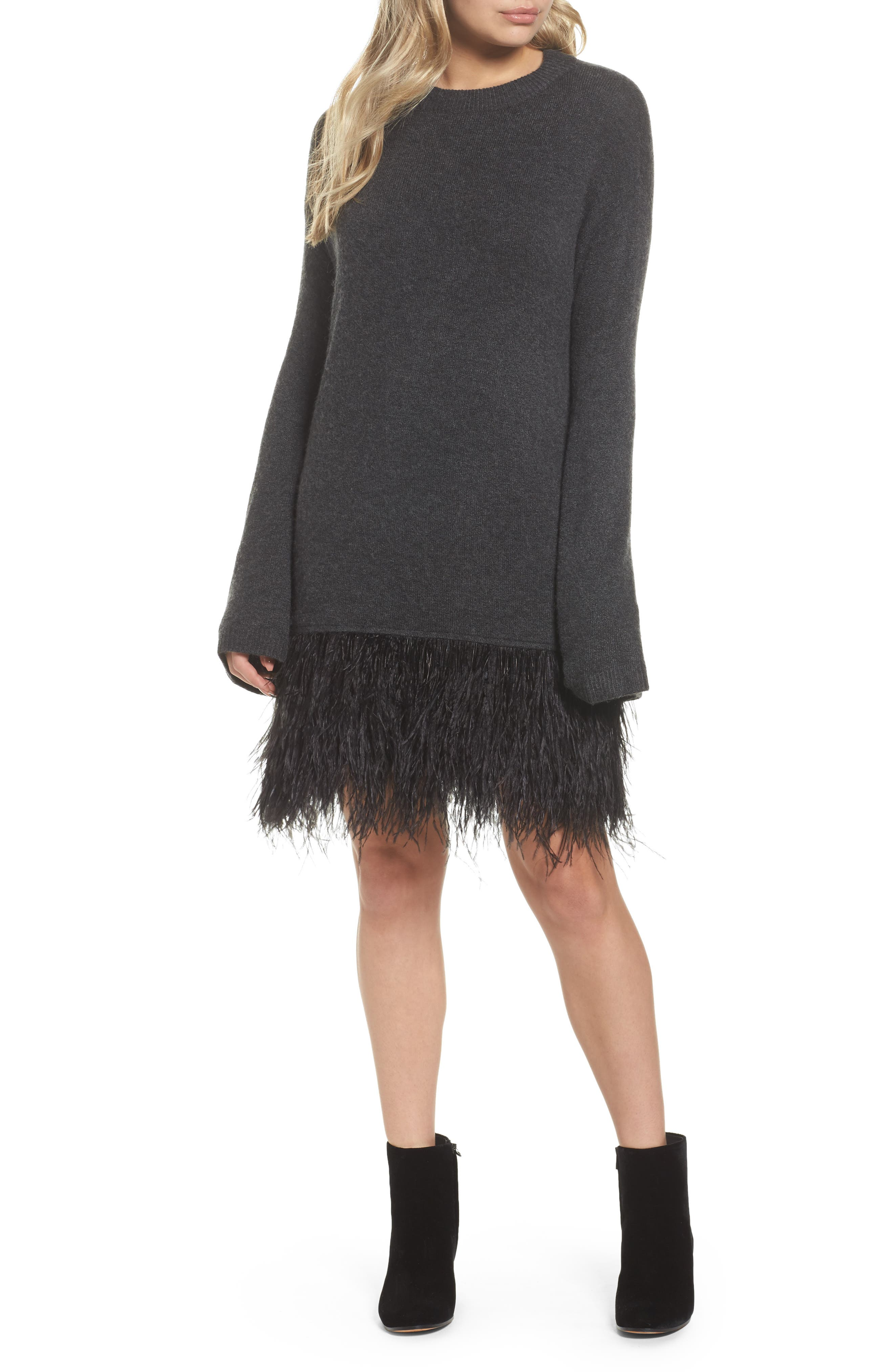 Chelsea28 Feather Hem Sweatshirt Dress