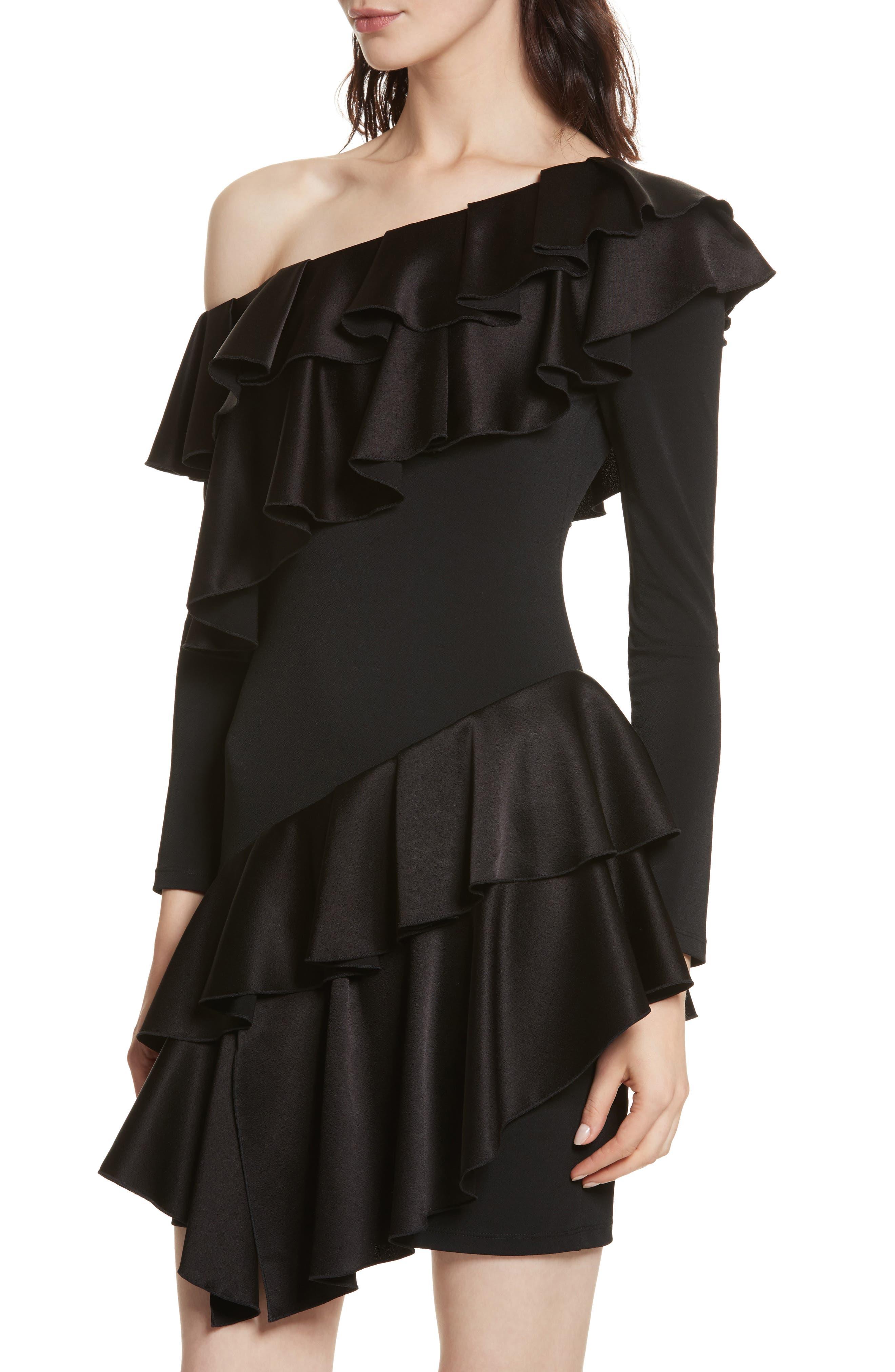 Izzy One-Shoulder Ruffle Dress,                             Alternate thumbnail 4, color,                             Black
