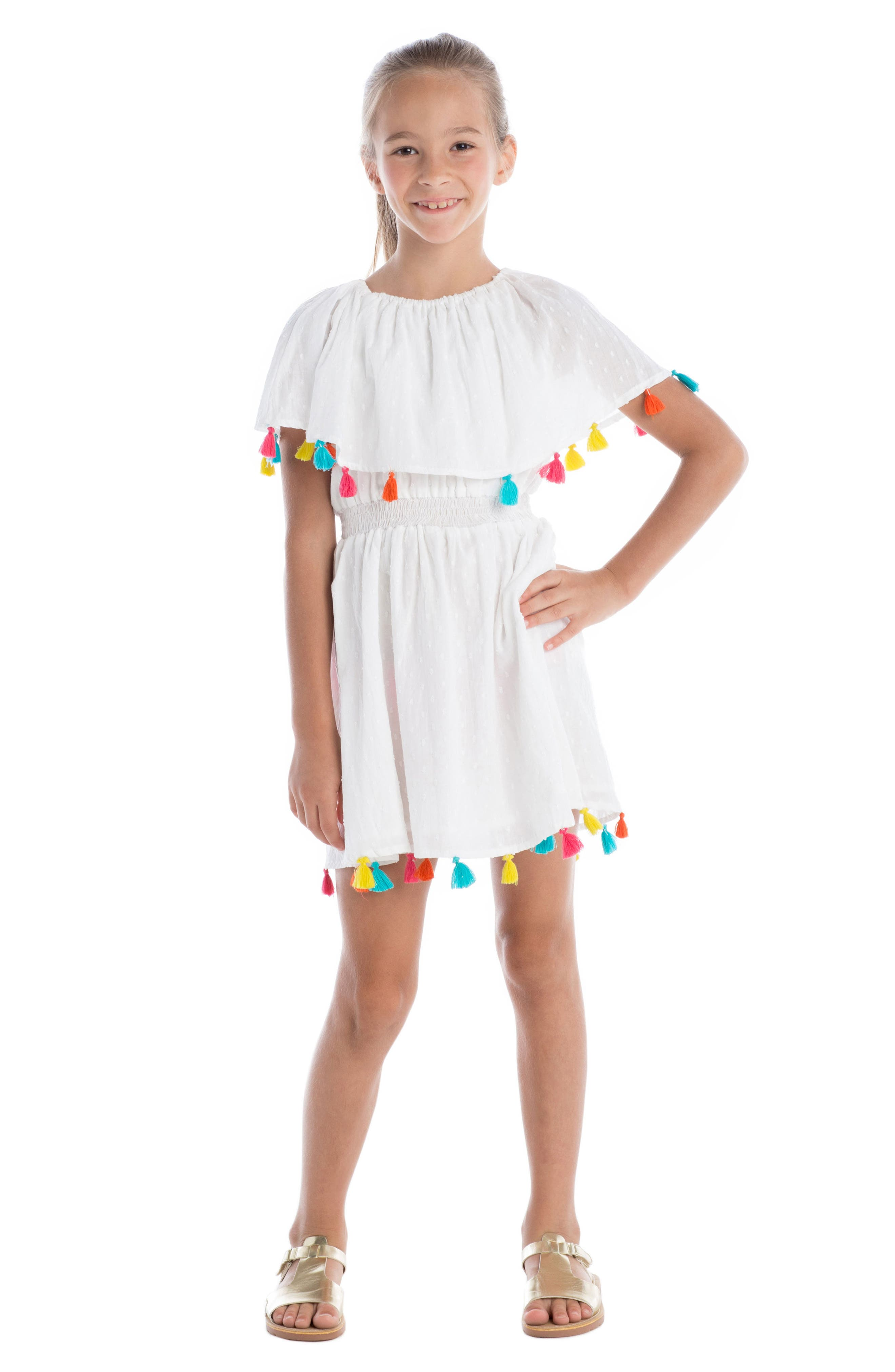 Fun Fair Tassel Dress,                             Alternate thumbnail 3, color,                             White