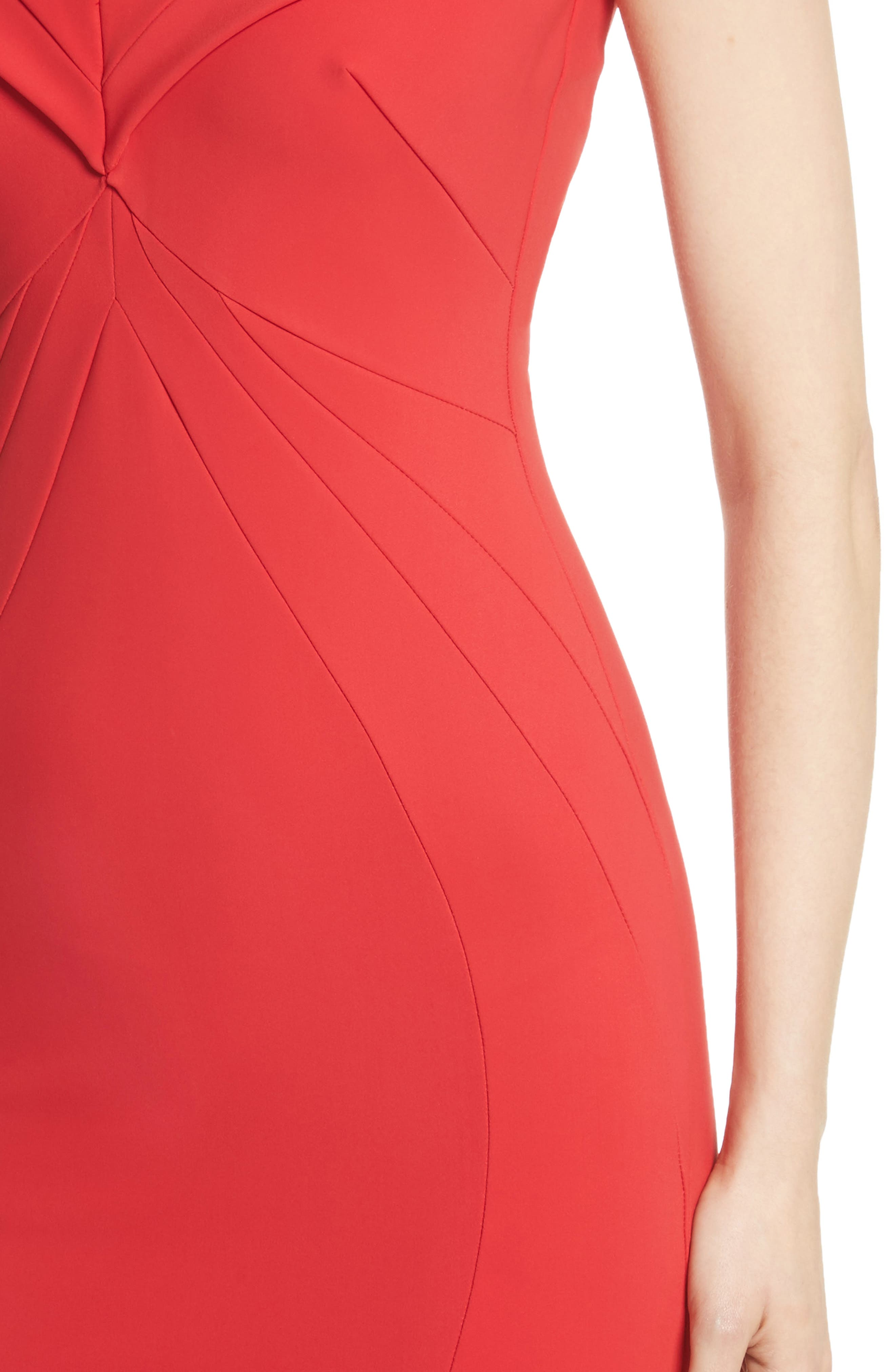 Tally Off the Shoulder Trumpet Gown,                             Alternate thumbnail 4, color,                             Passion/ Red