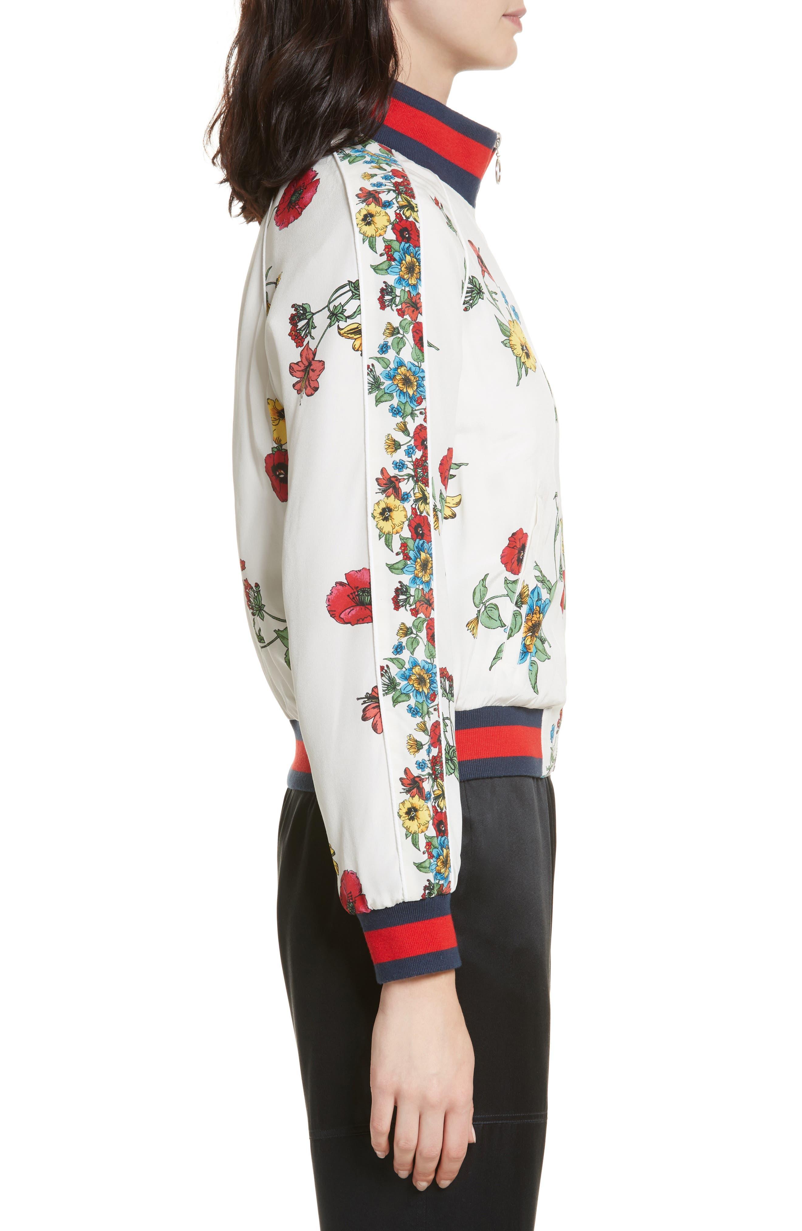 Avariella Silk Bomber Jacket,                             Alternate thumbnail 3, color,                             Porcelain