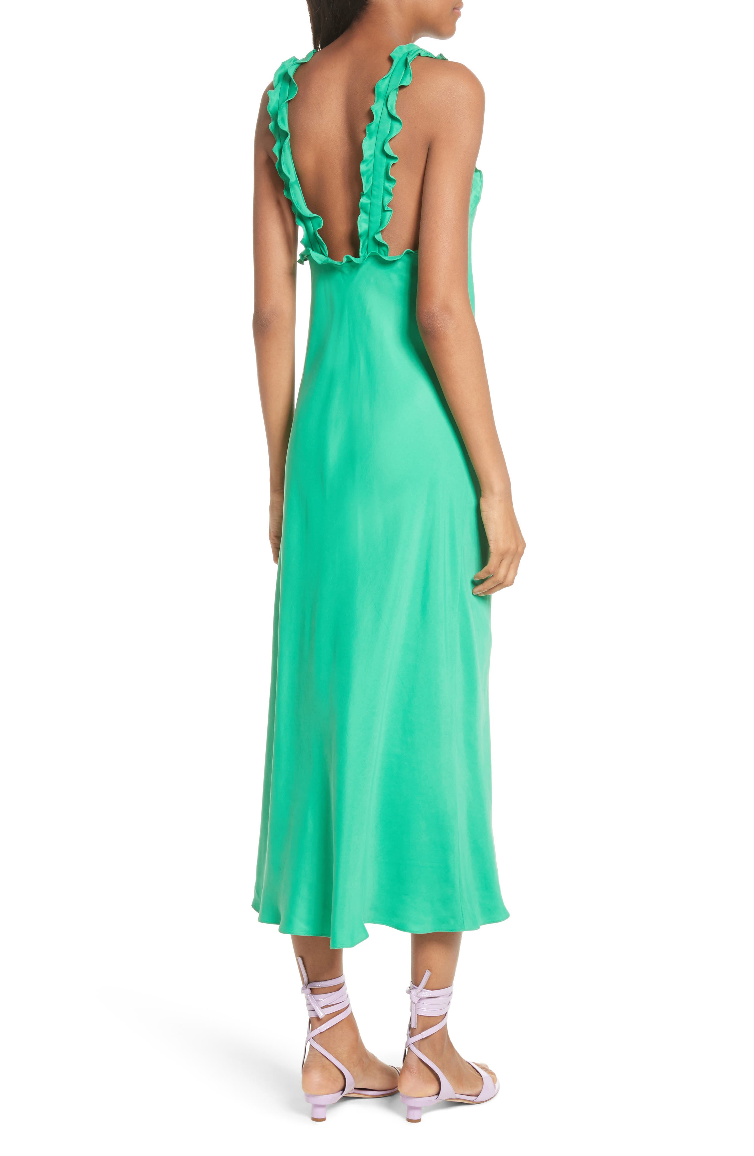 Ruffle Bias Midi Dress,                             Alternate thumbnail 2, color,                             Green