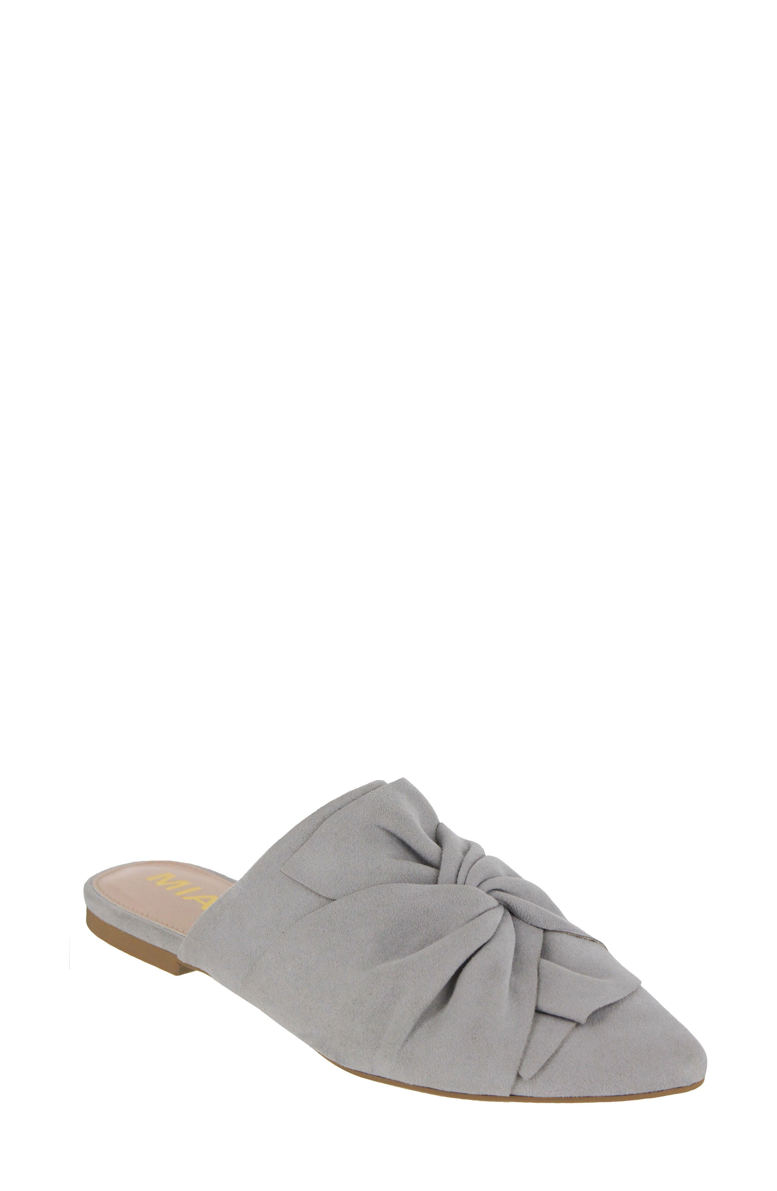 Cabaret Knotted Mule,                         Main,                         color, Steel Gray Suede