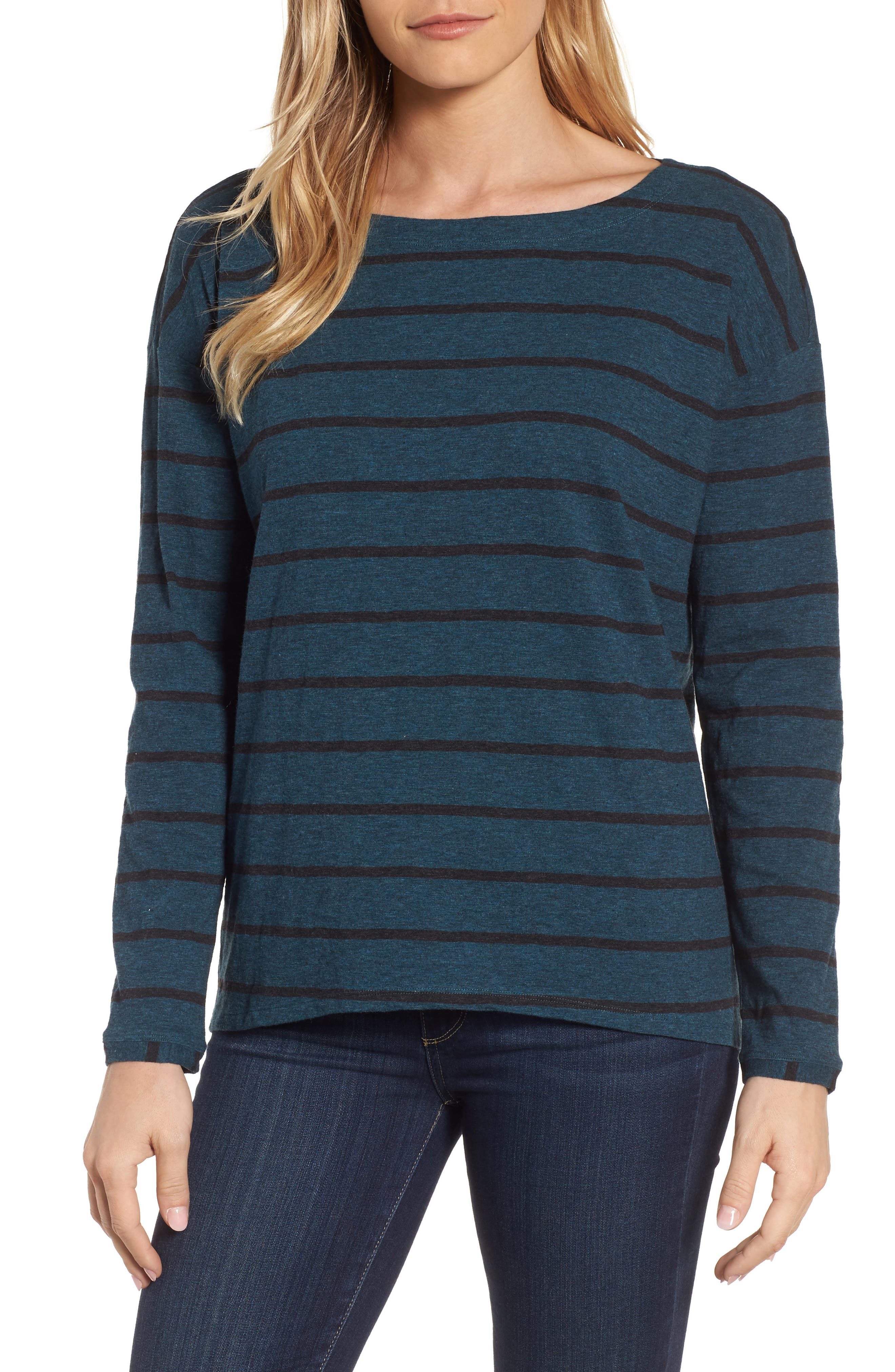 Eileen Fisher Stripe Organic Cotton Top (Regular & Petite)