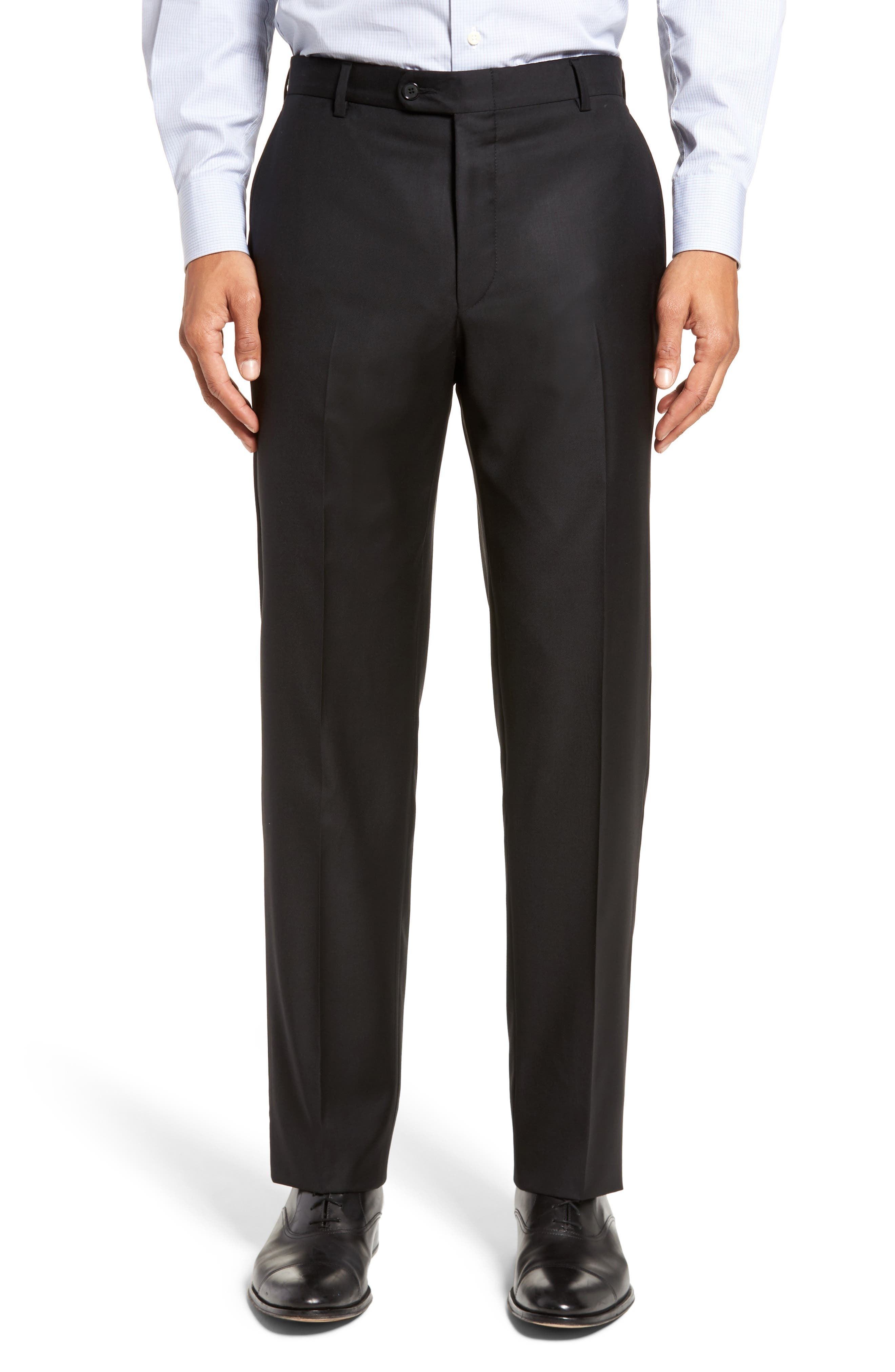Classic B Fit Solid Loro Piana Wool Suit,                             Alternate thumbnail 6, color,                             Black Solid
