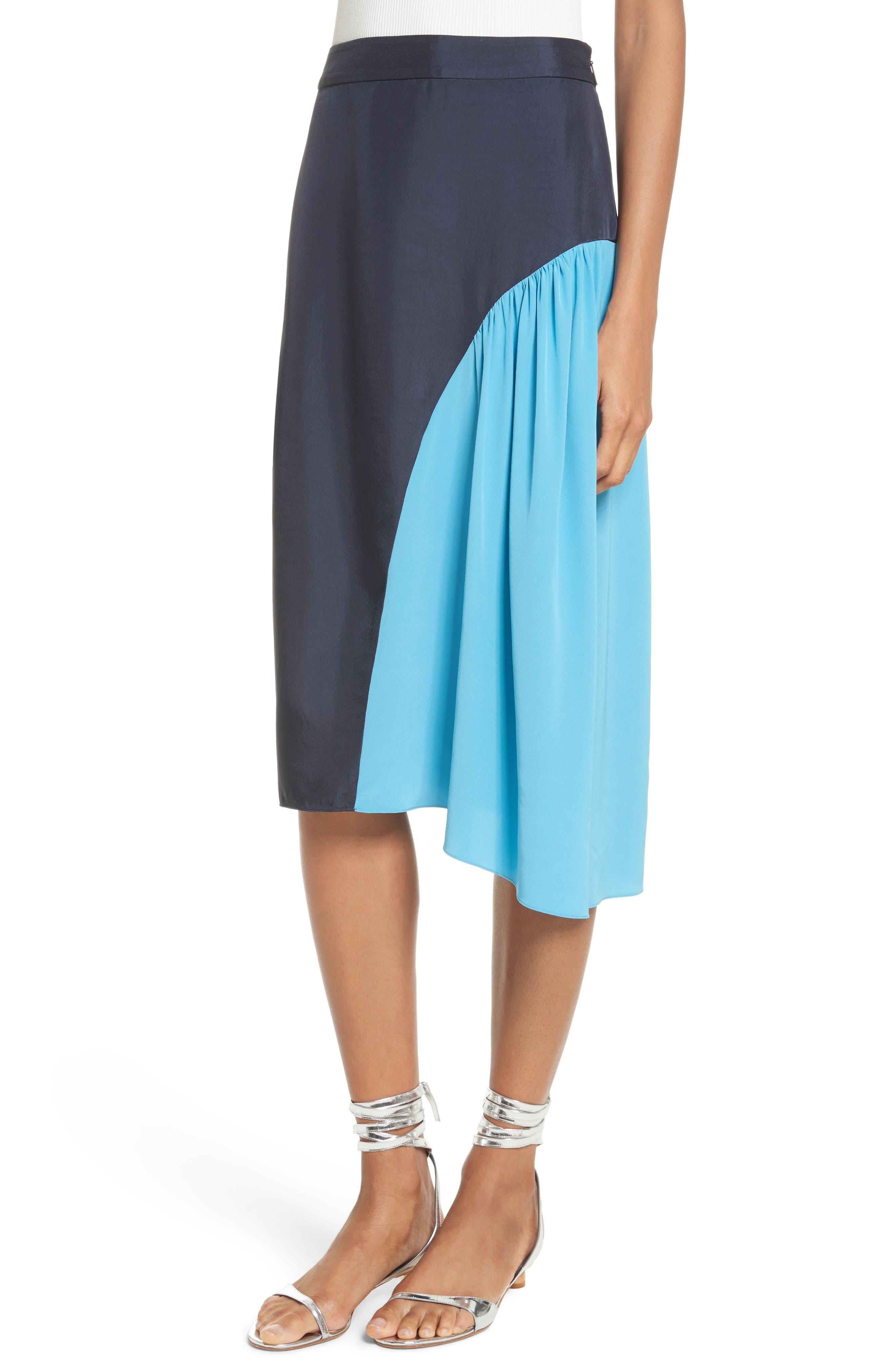 Colorblock Skirt,                             Alternate thumbnail 4, color,                             Navy/ Blue Multi