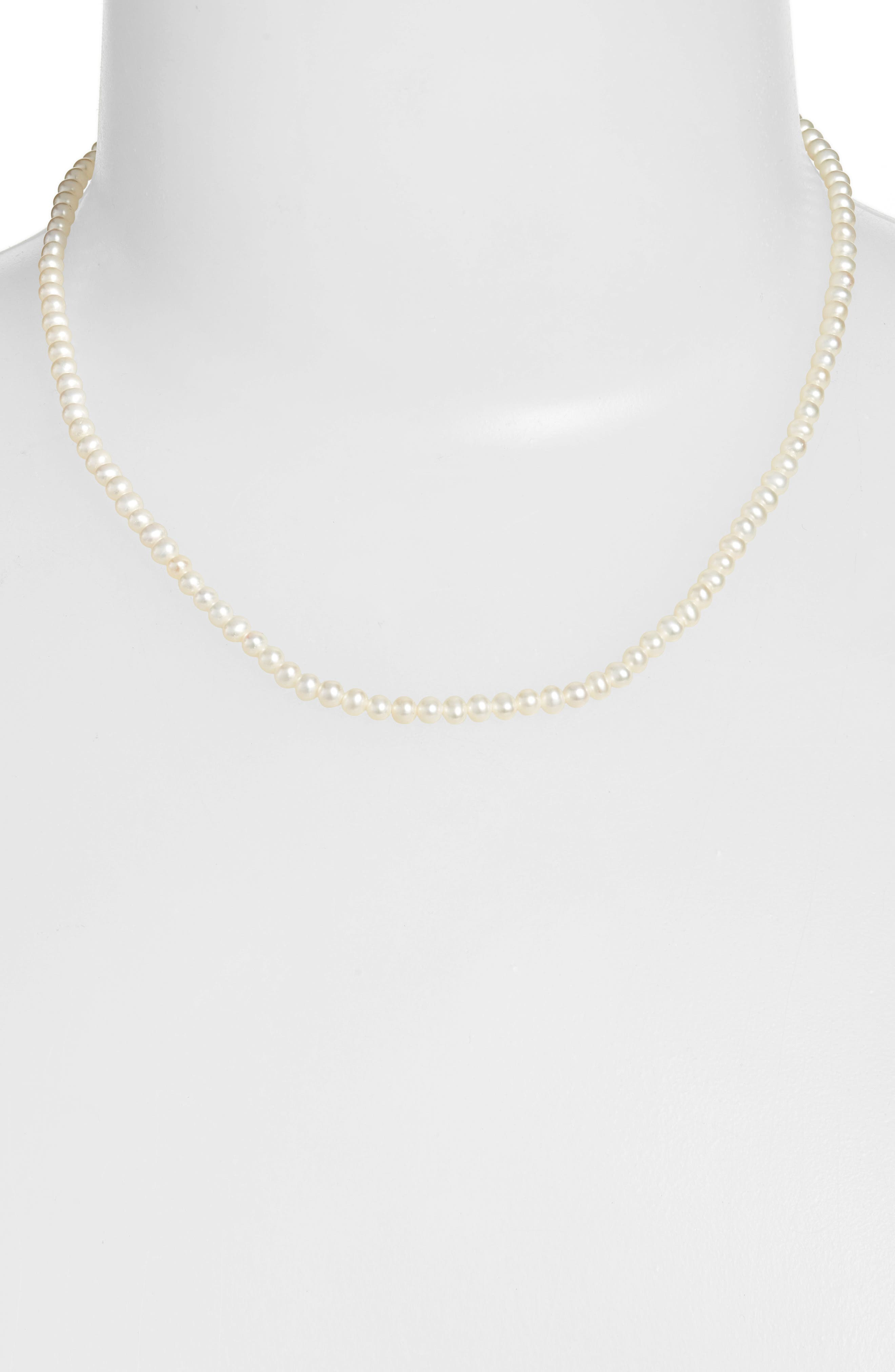 Pearl Short Strand Necklace,                         Main,                         color, Yellow Gold