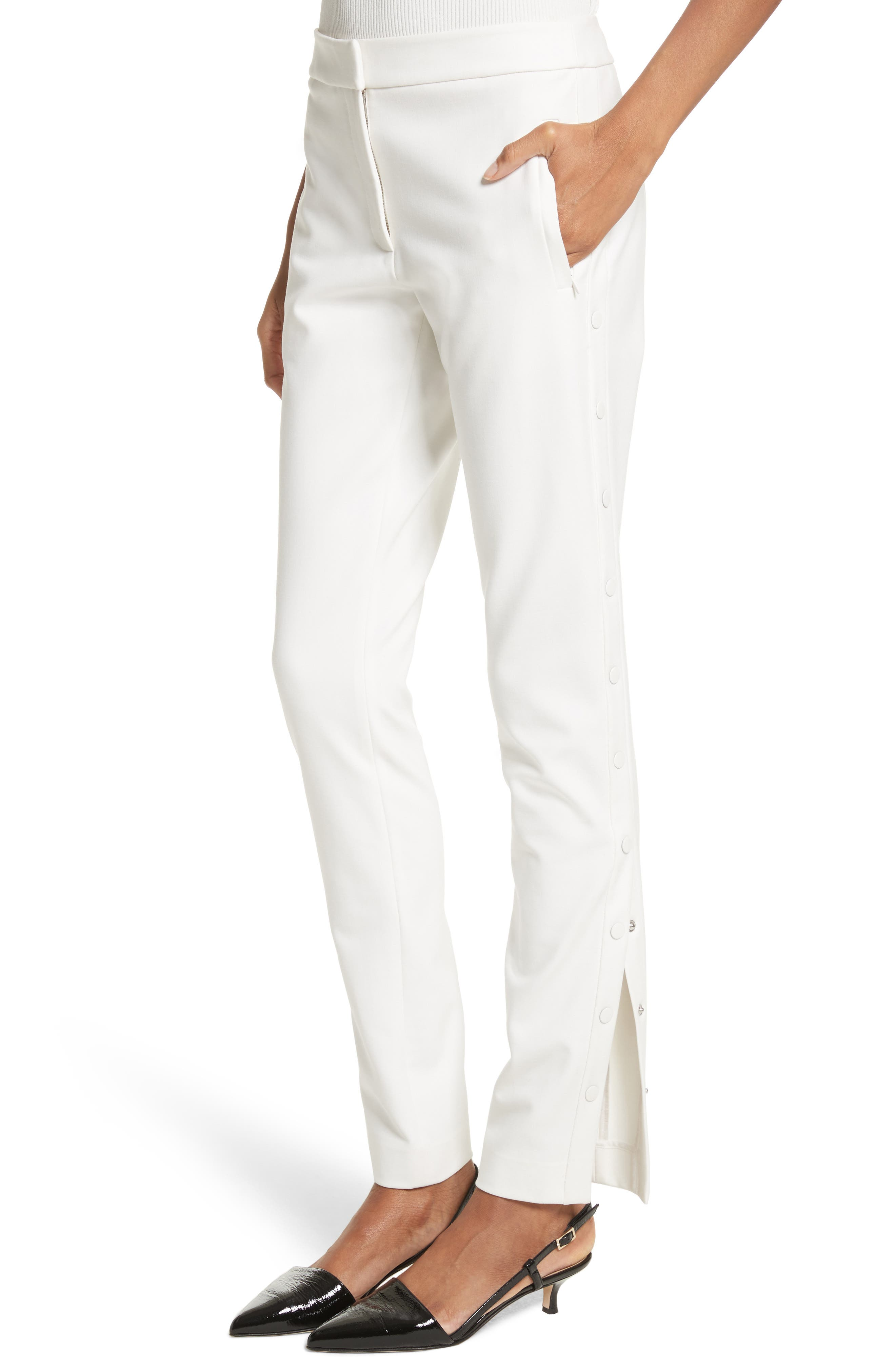 Anson Snap Side Skinny Pants,                             Alternate thumbnail 4, color,                             Ivory