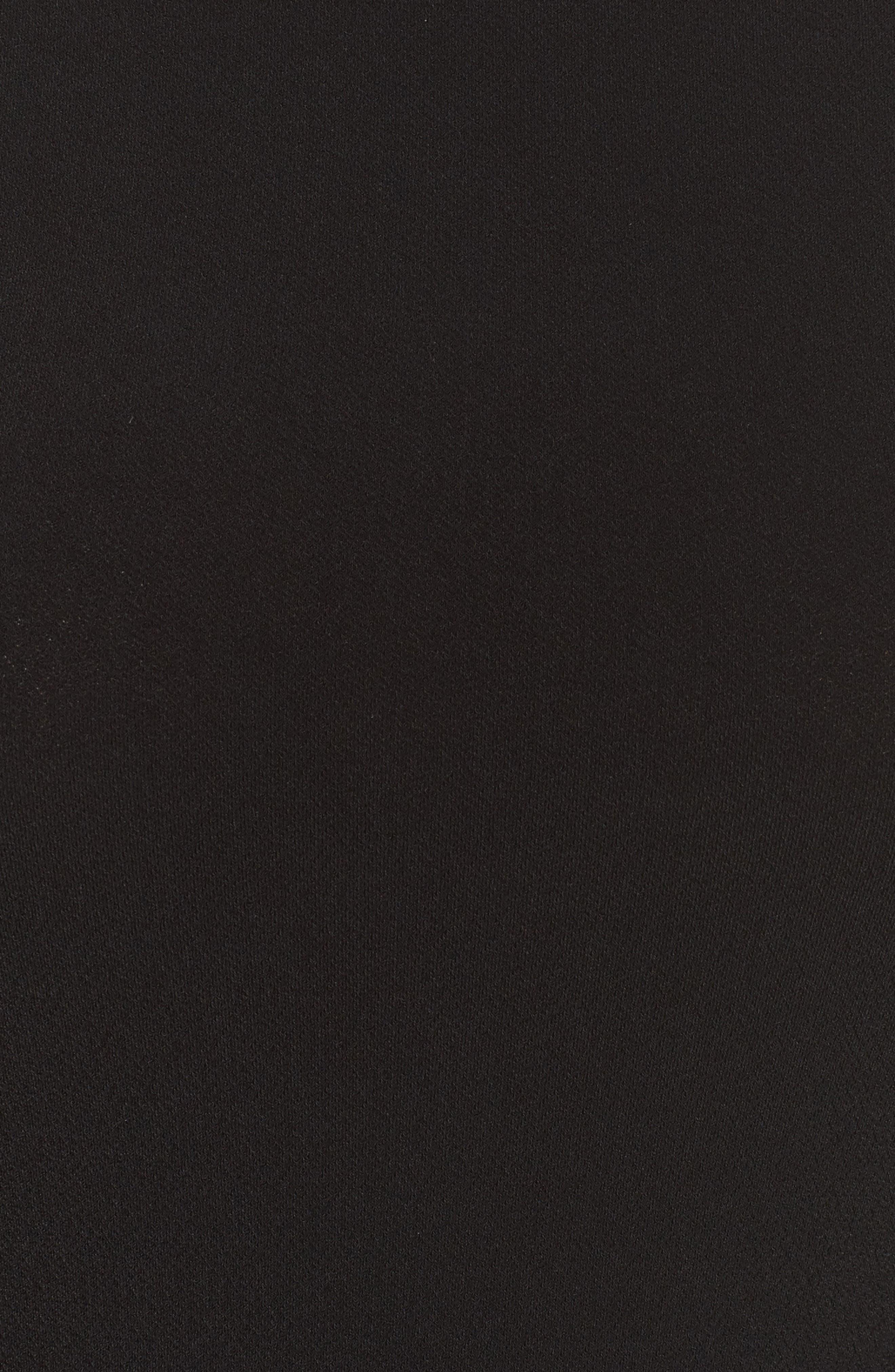 Belted Print Jersey A-Line Dress,                             Alternate thumbnail 6, color,                             Black Crepe