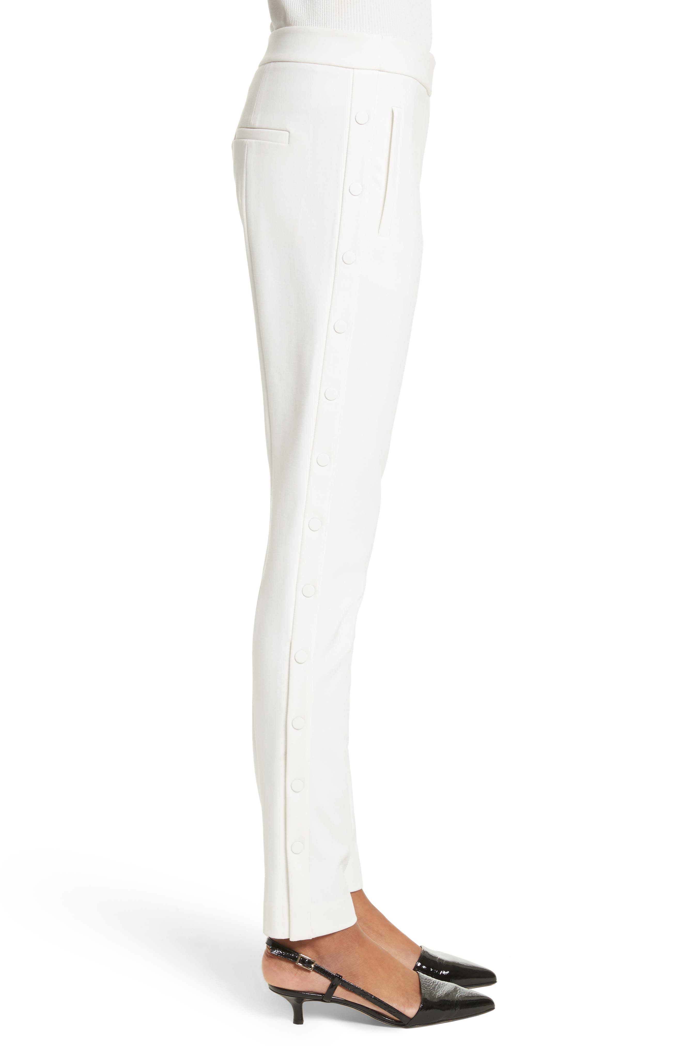 Anson Snap Side Skinny Pants,                             Alternate thumbnail 3, color,                             Ivory