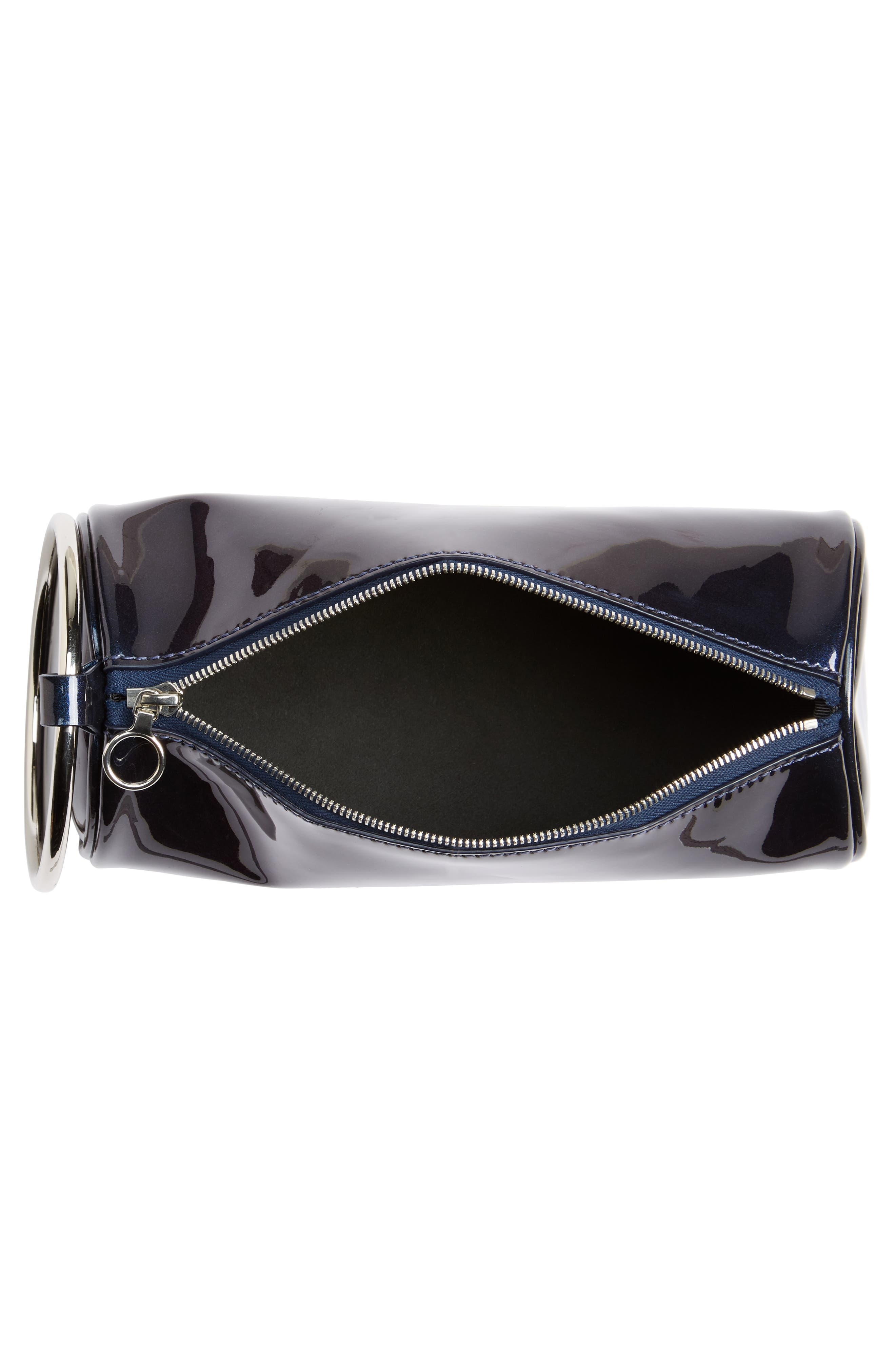 Iridescent Leather Duffel Wristlet Clutch,                             Alternate thumbnail 6, color,                             Galaxy Navy