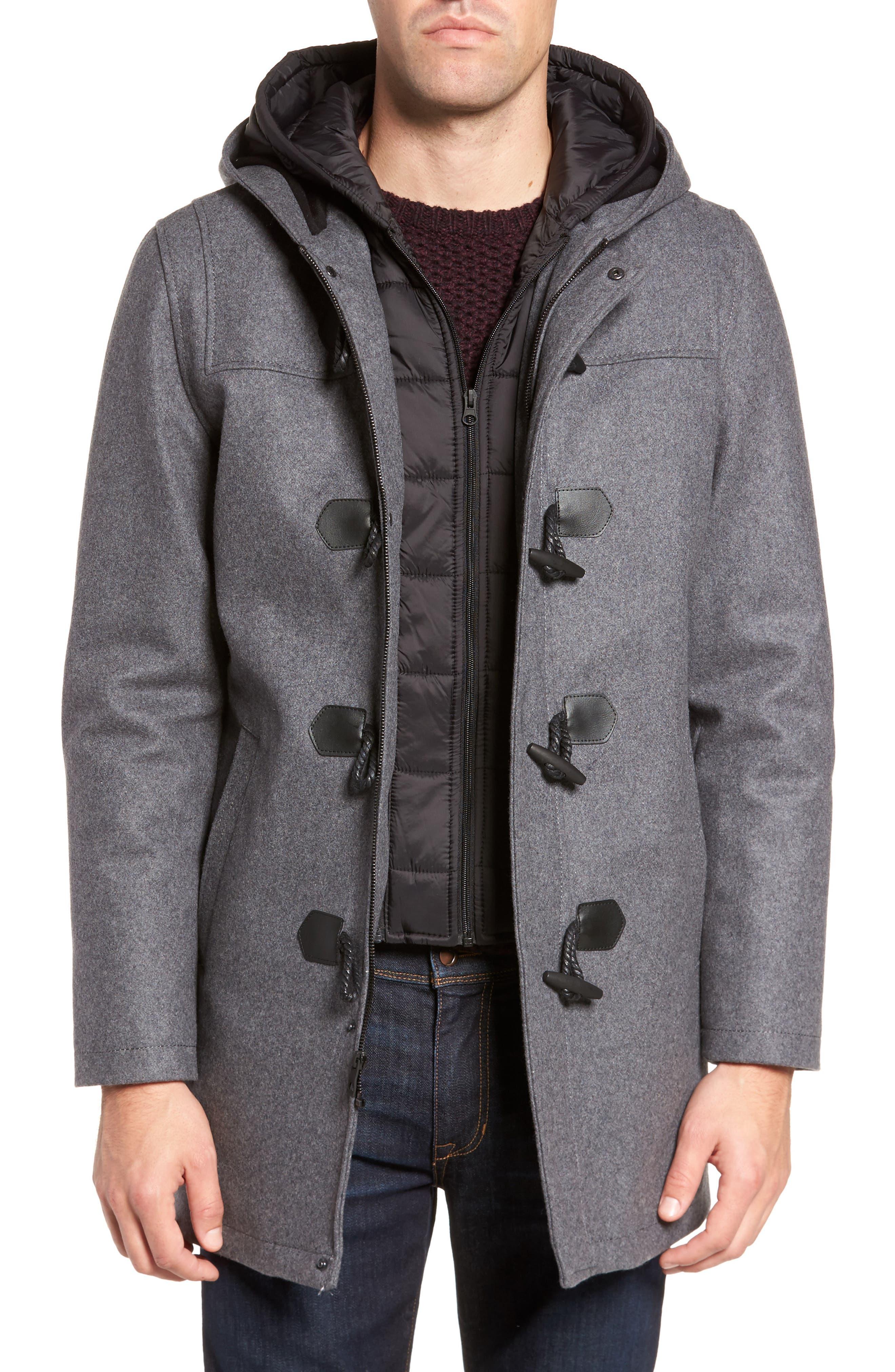 Black Rivet Wool Blend Hooded Duffle Coat