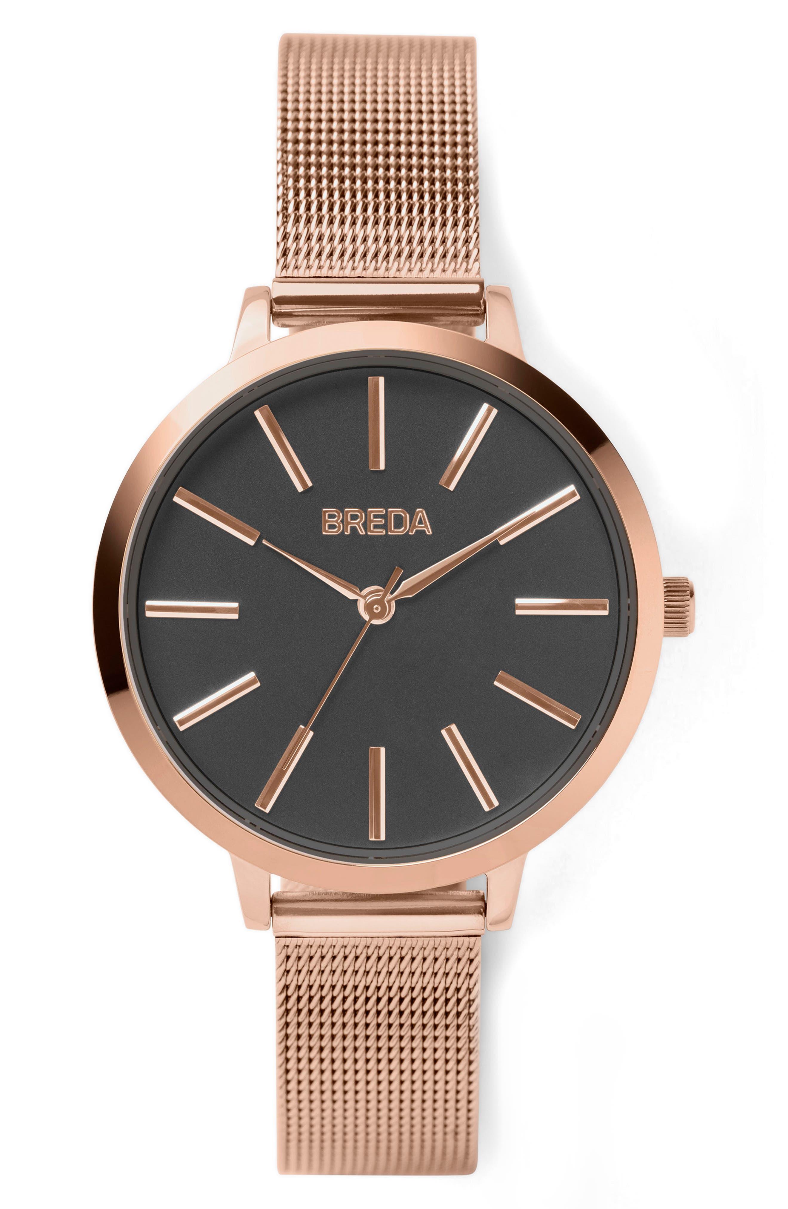 Joule Mesh Strap Watch, 37mm,                         Main,                         color, Rose Gold/ Black/ Rose Gold