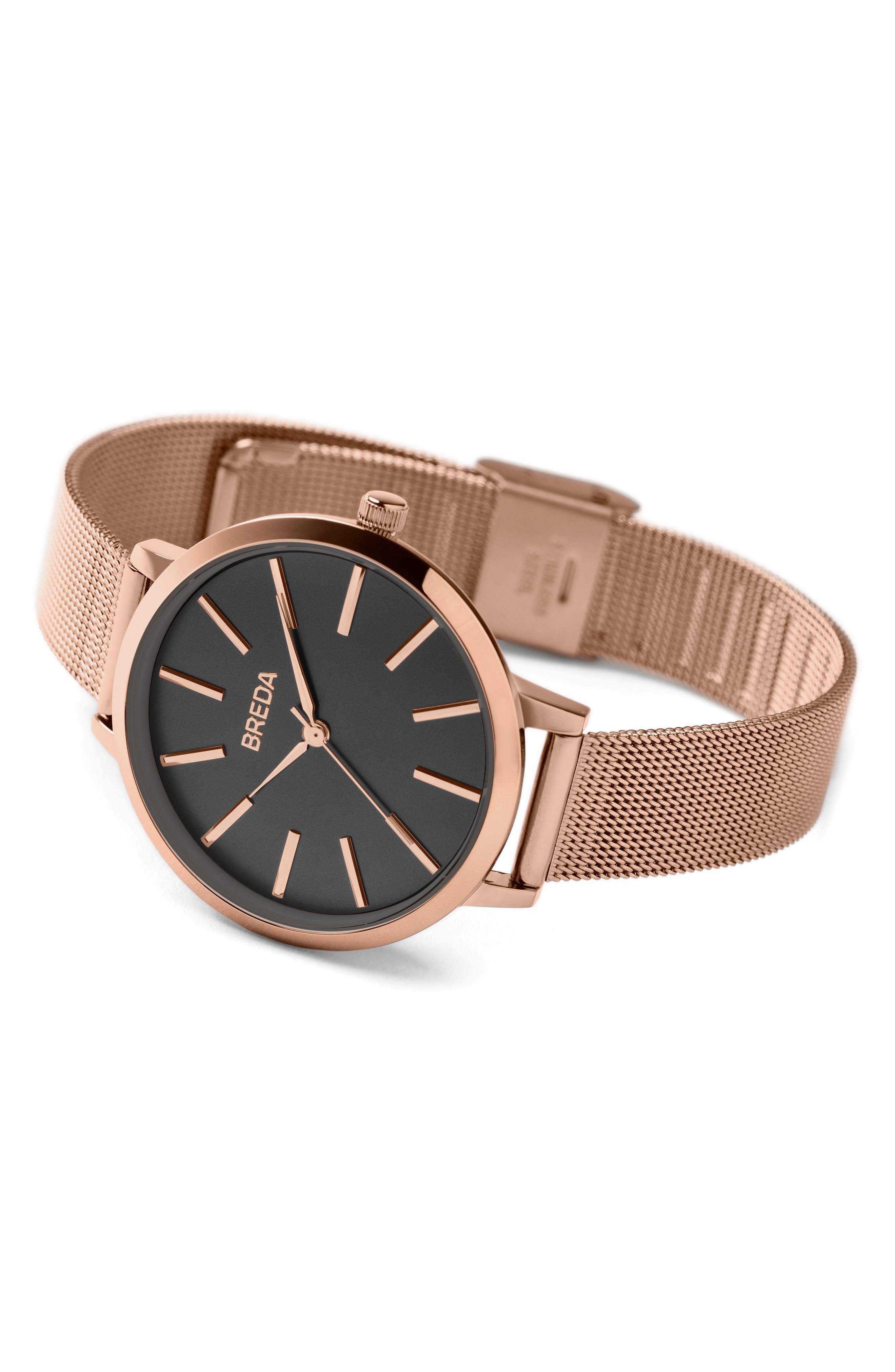 Joule Mesh Strap Watch, 37mm,                             Alternate thumbnail 3, color,                             Rose Gold/ Black/ Rose Gold