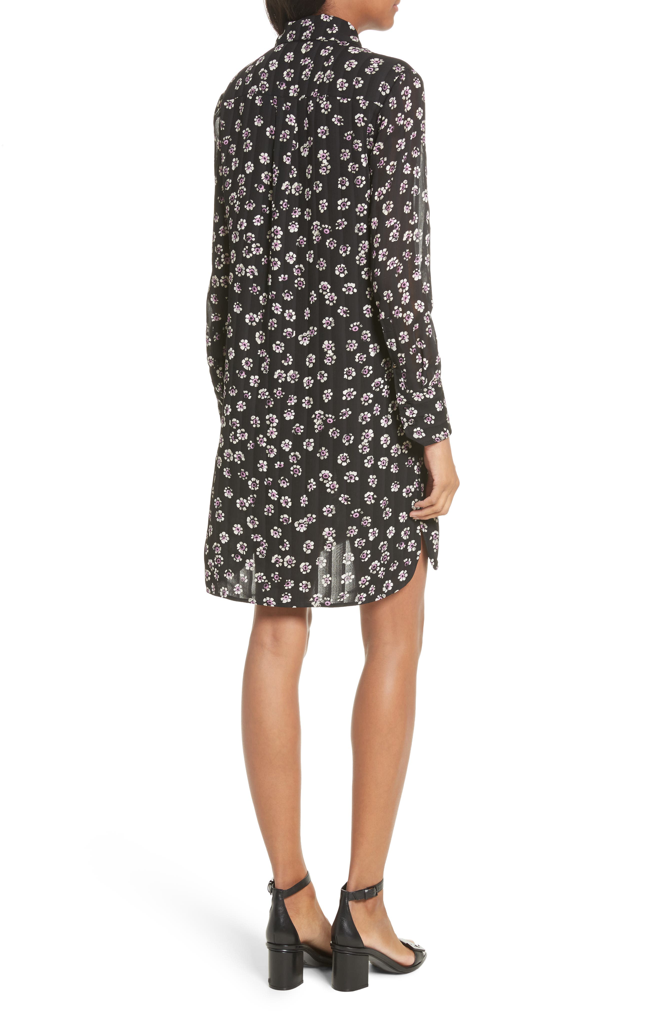 Avery Floral Silk Shirtdress,                             Alternate thumbnail 2, color,                             Black Stamped Floral