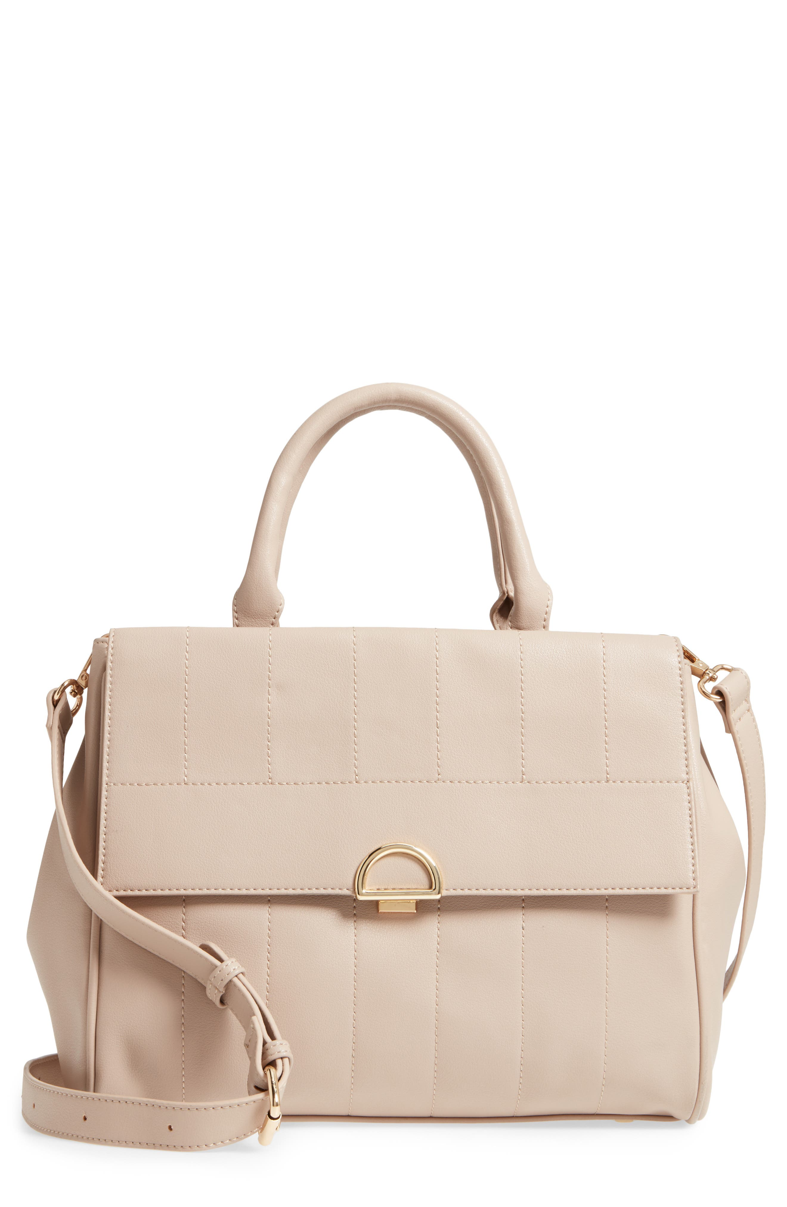 Main Image - Sole Society Tracy Quilted Faux Leather Satchel