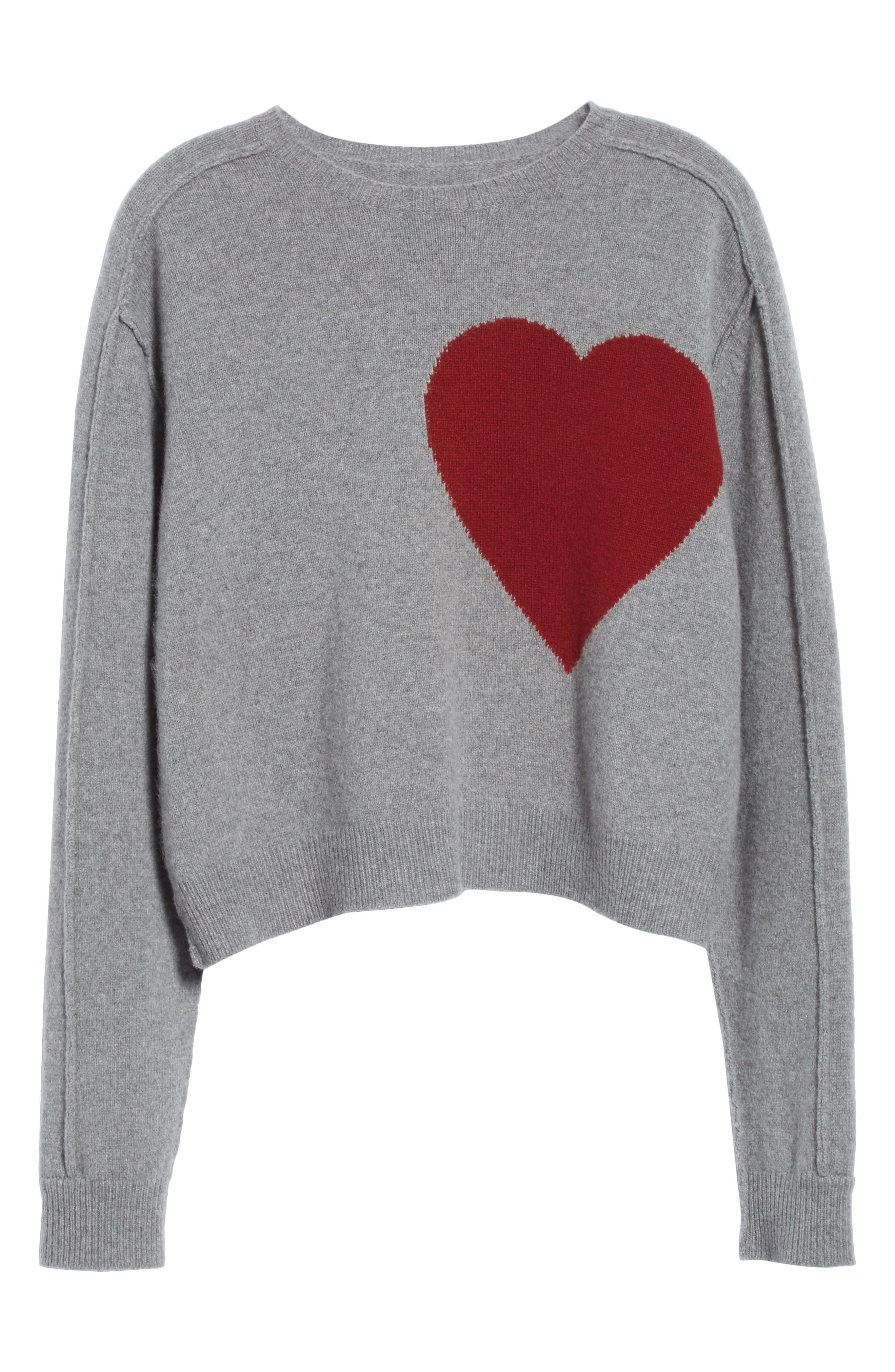 Heart Wool & Cashmere Sweater,                             Alternate thumbnail 7, color,                             Grey