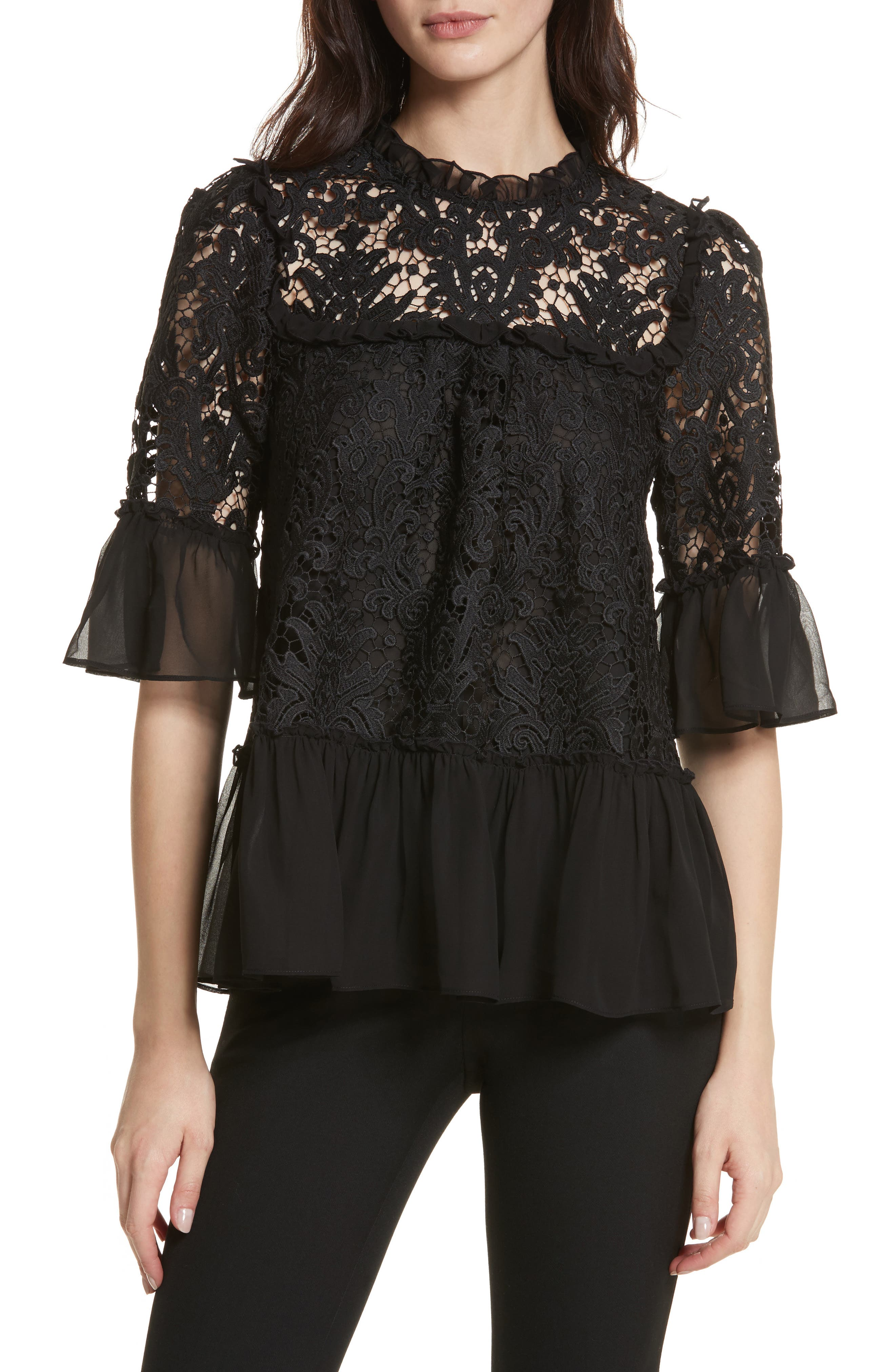 kate spade tapestry lace top,                         Main,                         color, Black