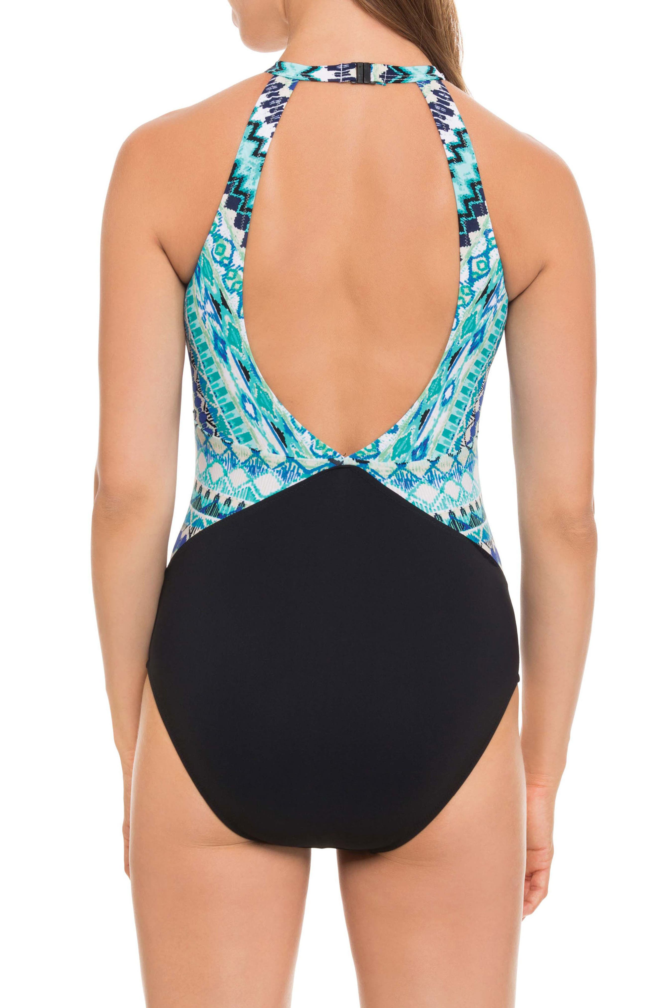 High Neck One-Piece Swimsuit,                             Alternate thumbnail 2, color,                             Blue Multi
