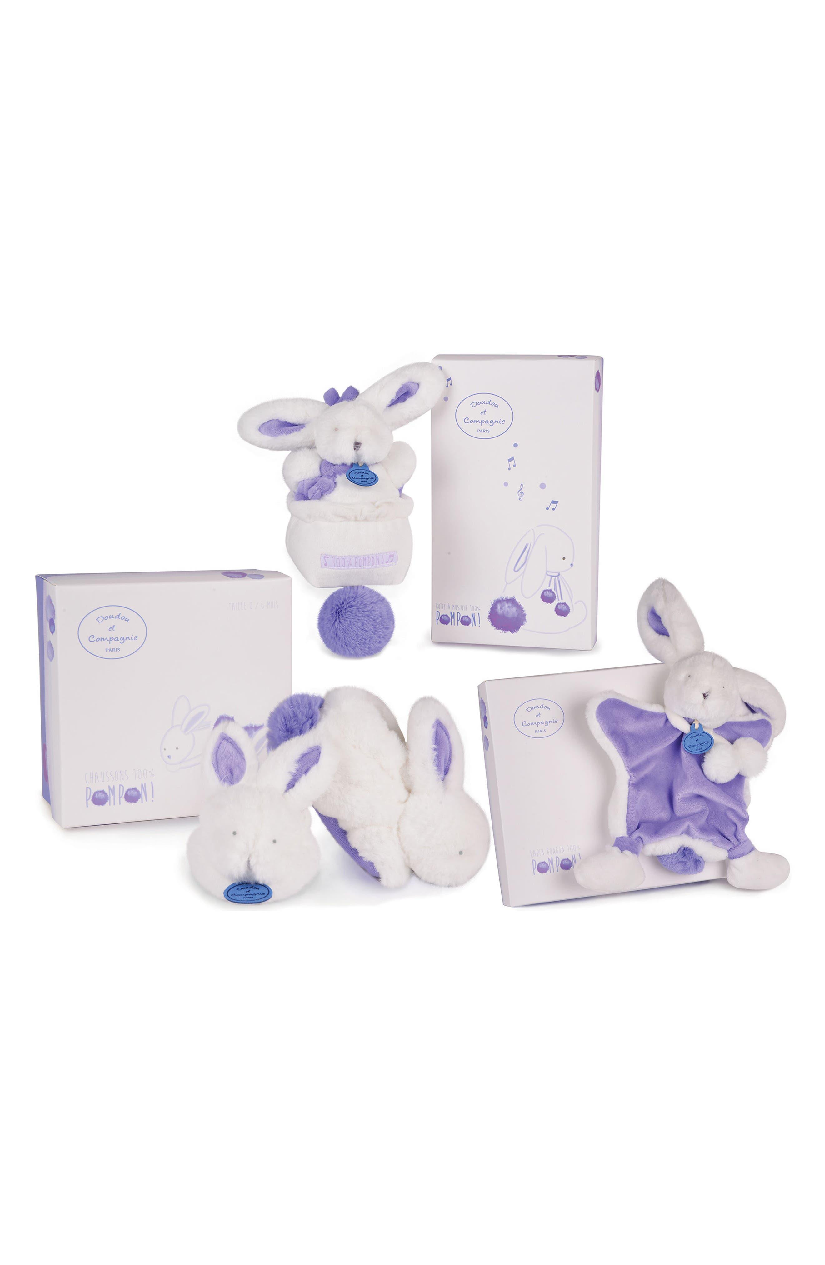 Doudou et Compagnie Lavender Booties, Lovie Blanket & Pull Musical Toy Gift Set