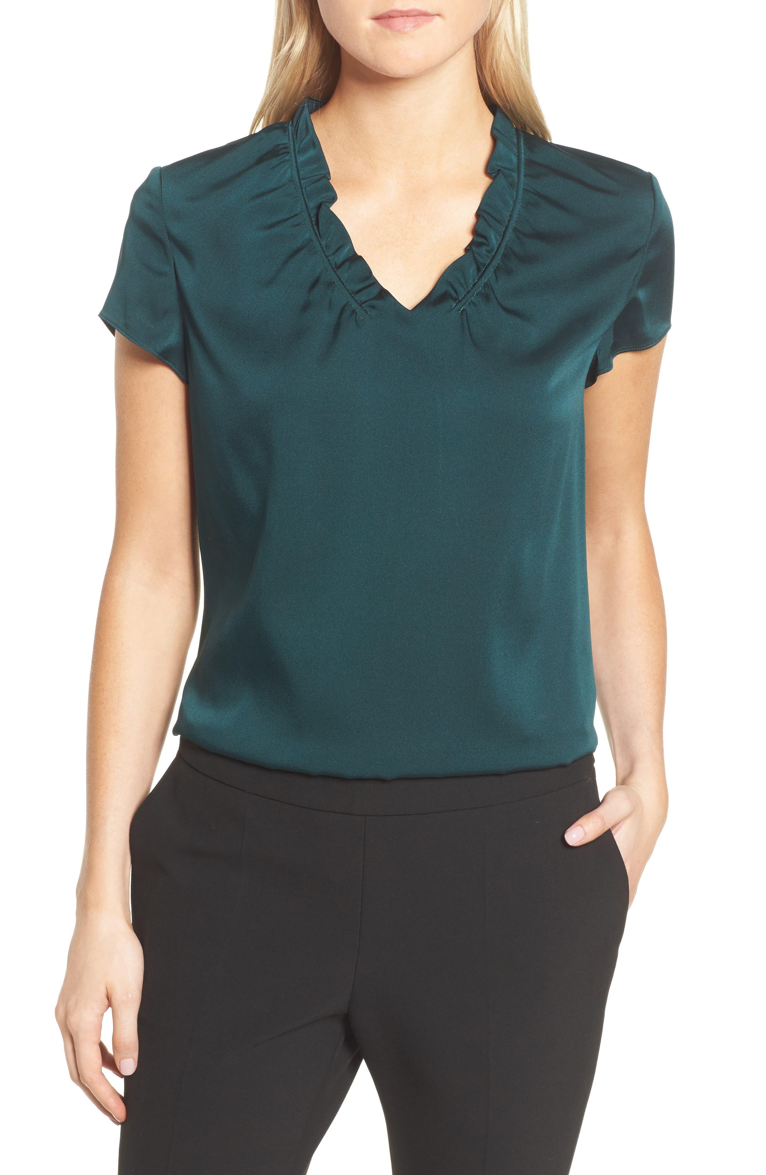 Isamara Stretch Silk Top,                         Main,                         color, Peacock Green