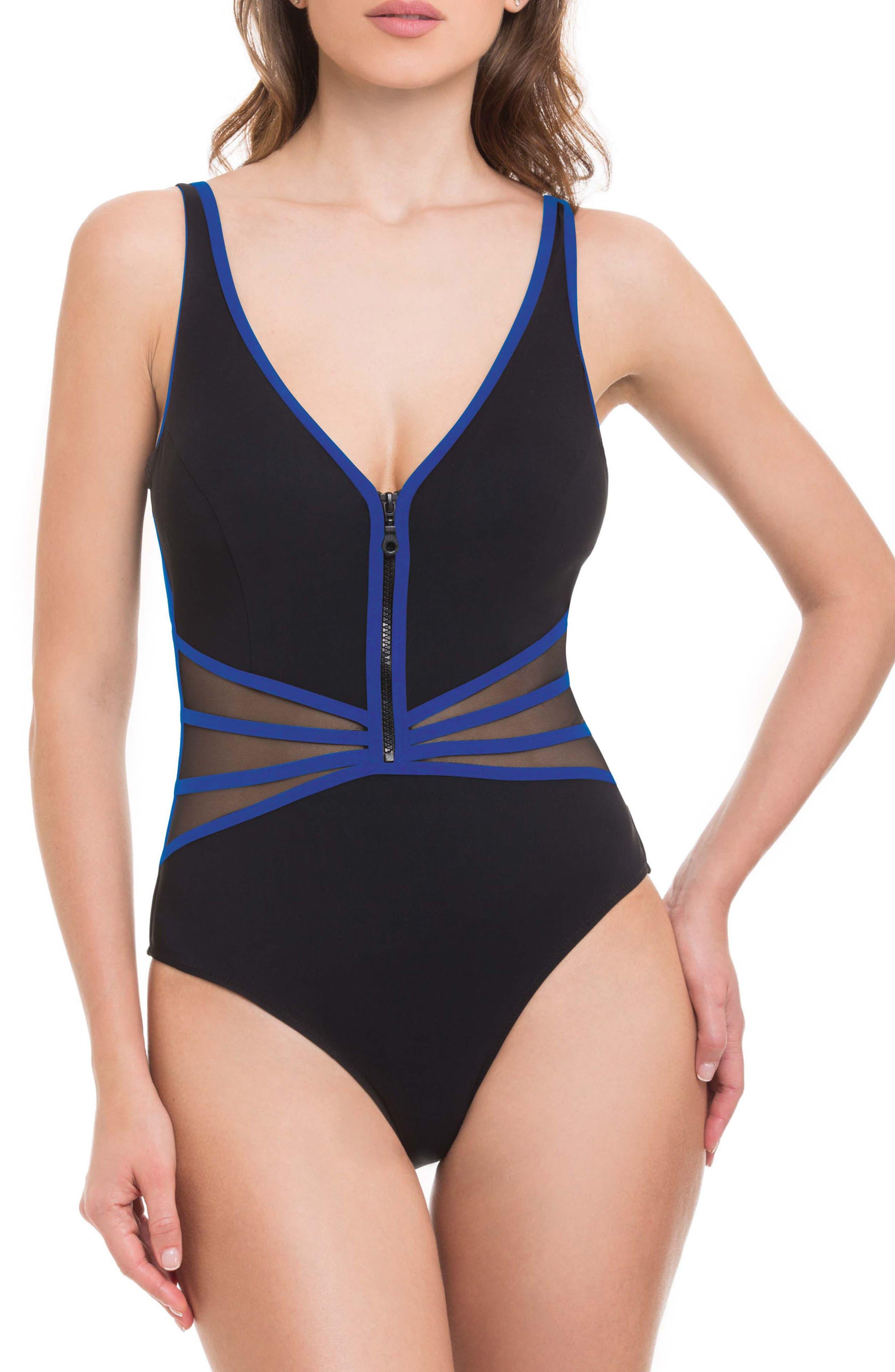 Grand Prix One-Piece Swimsuit,                         Main,                         color, Black/ Blue
