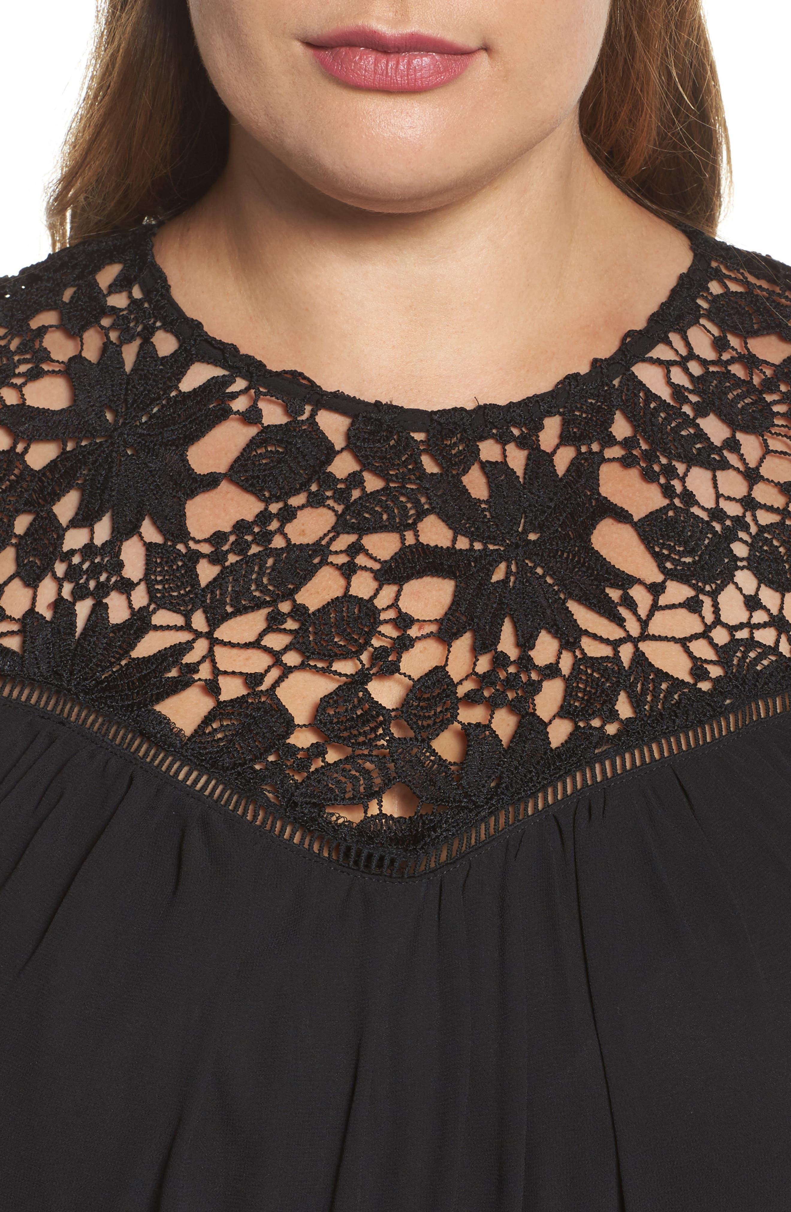 Handkerchief Hem Dress,                             Alternate thumbnail 4, color,                             Black