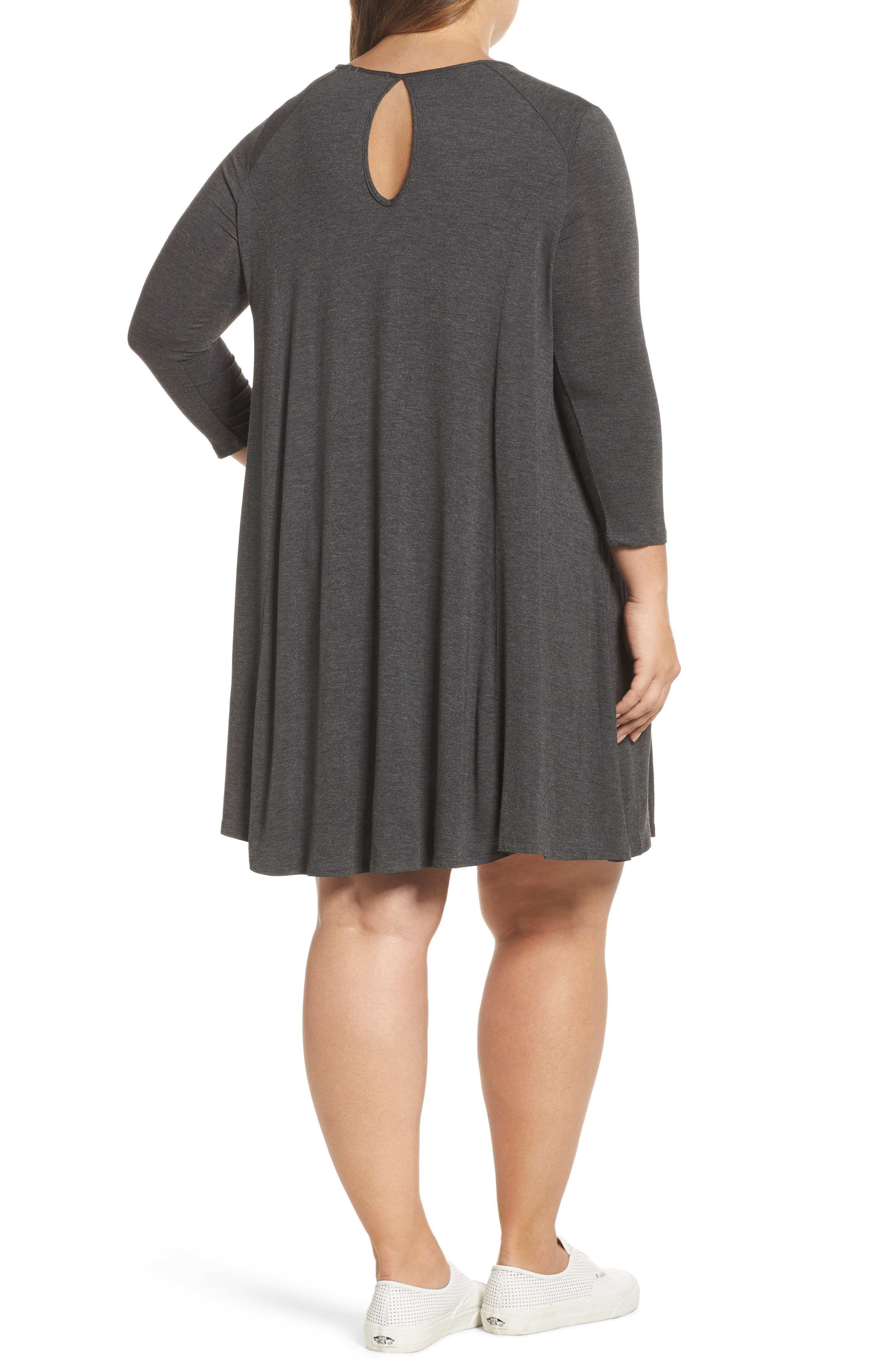Swing Dress,                             Alternate thumbnail 2, color,                             Charcoal Grey