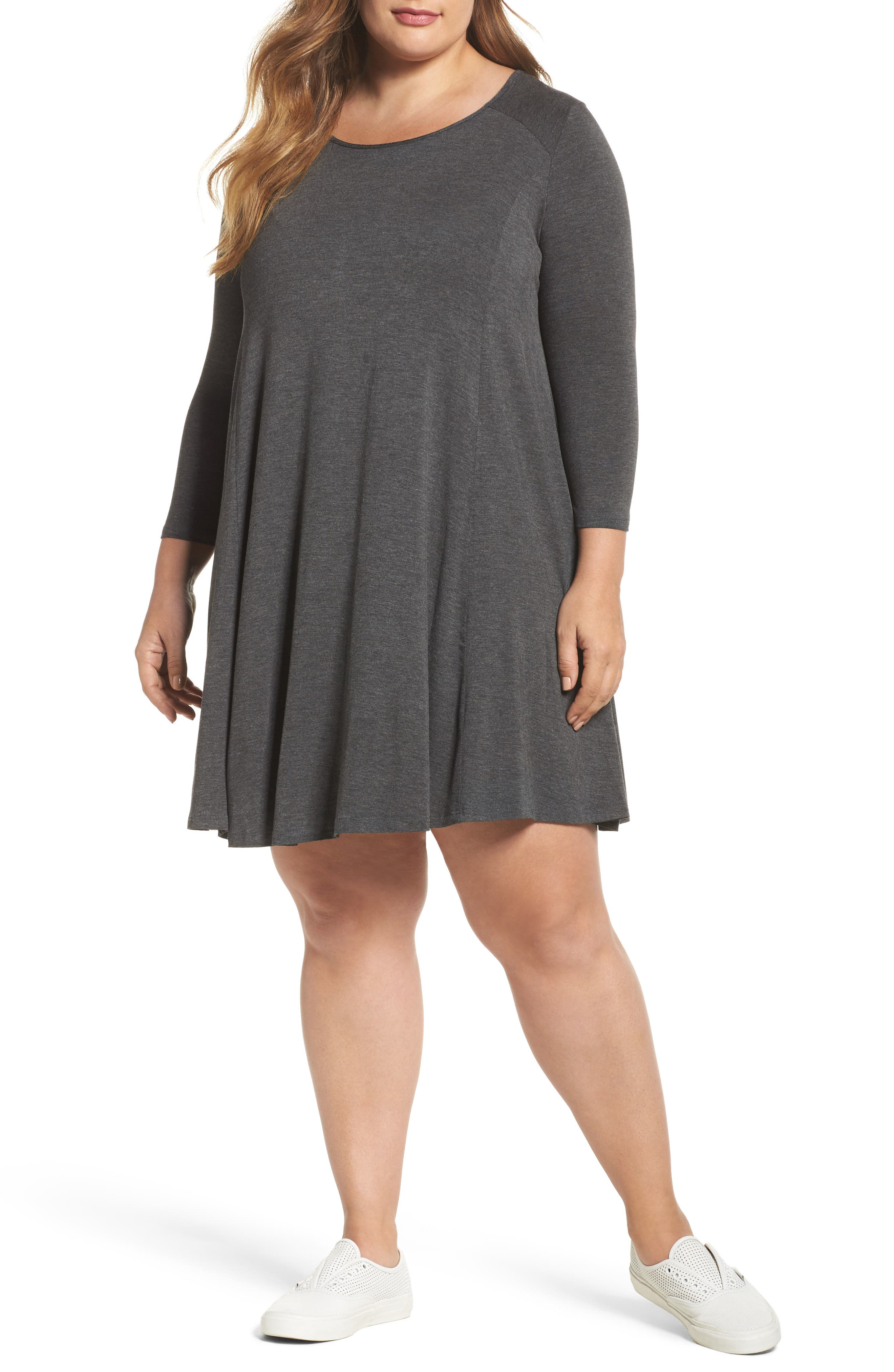 Swing Dress,                         Main,                         color, Charcoal Grey