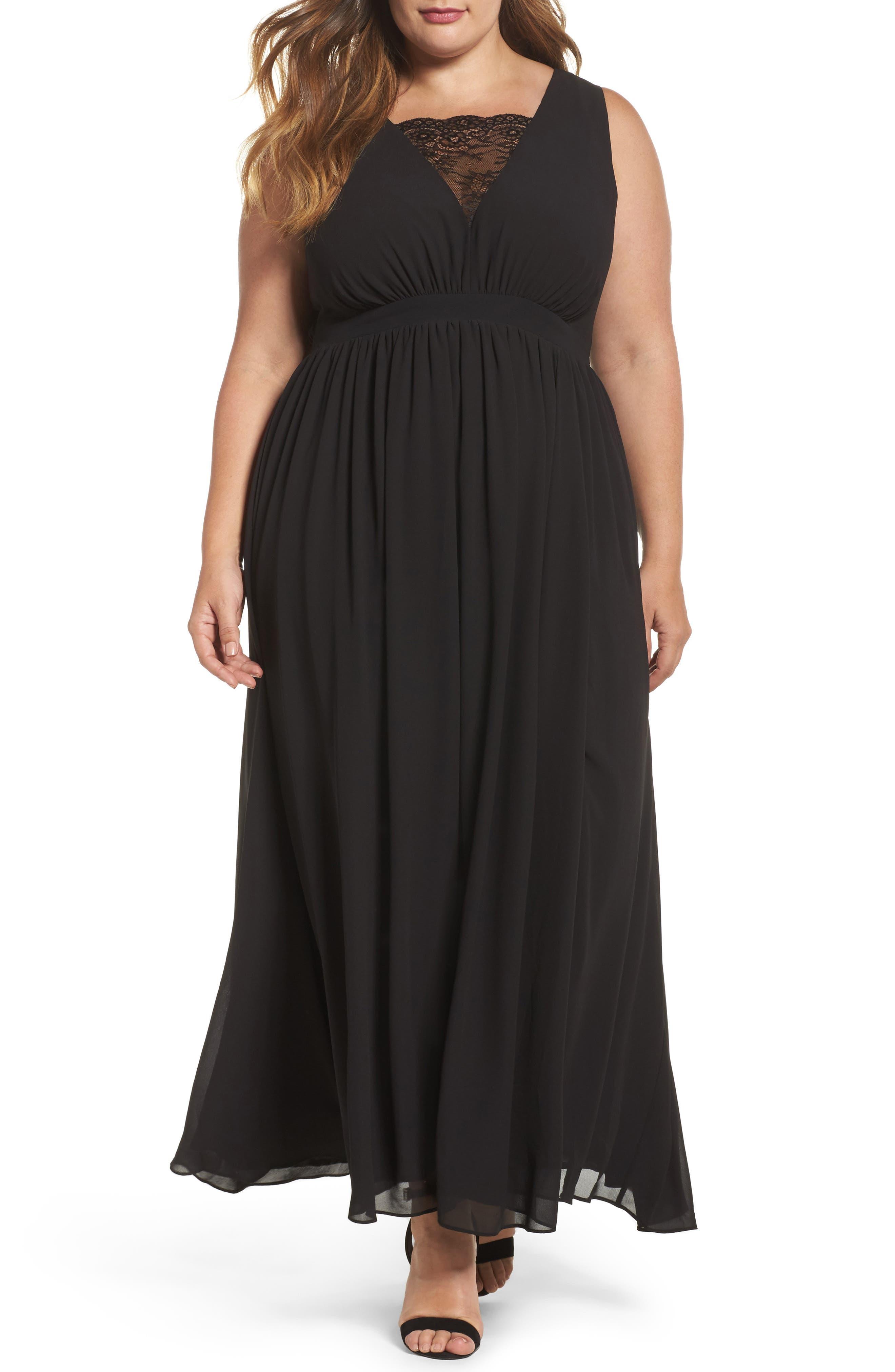 Lace Inset Maxi Dress,                             Main thumbnail 1, color,                             Black