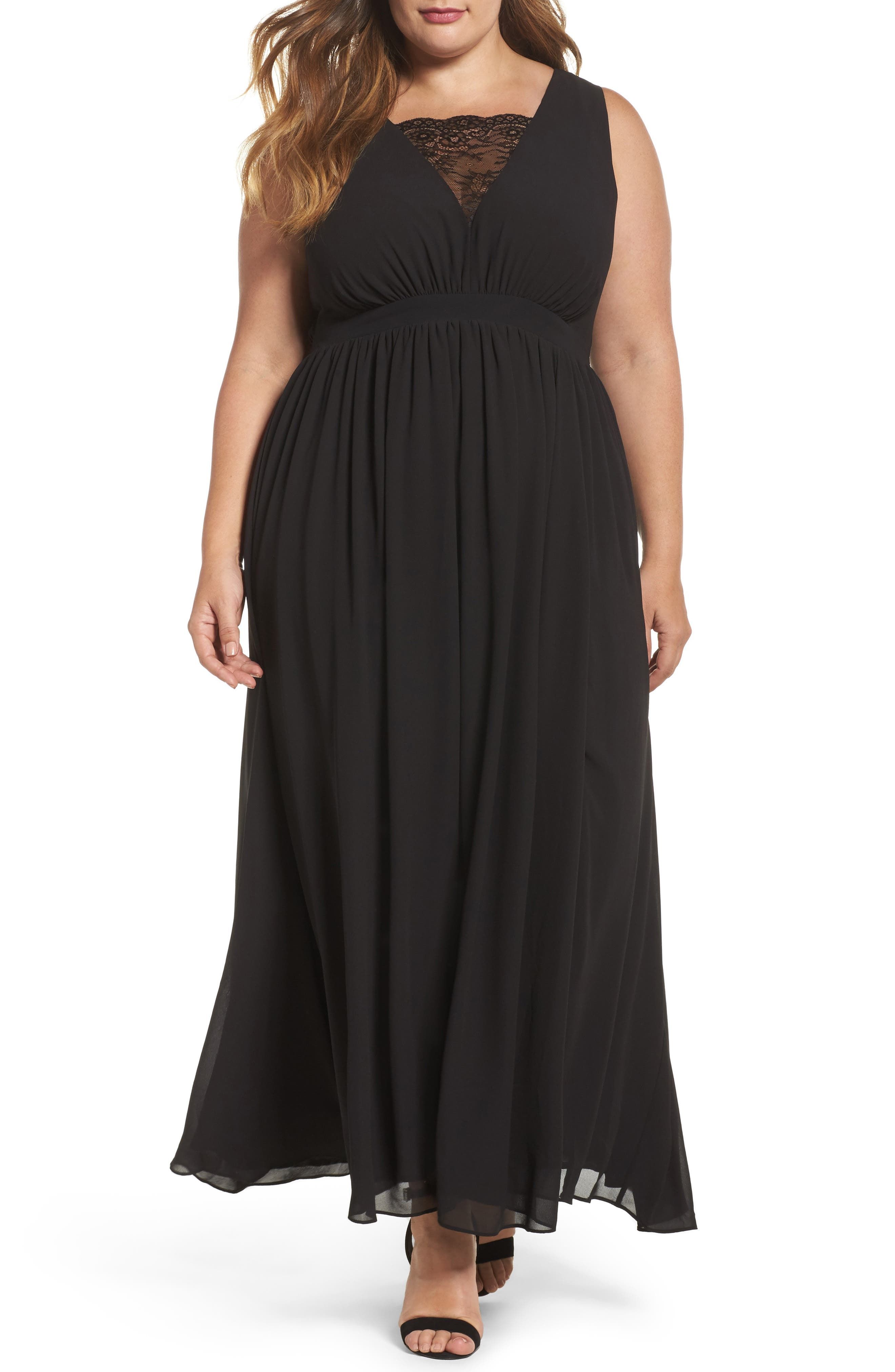 Lace Inset Maxi Dress,                         Main,                         color, Black