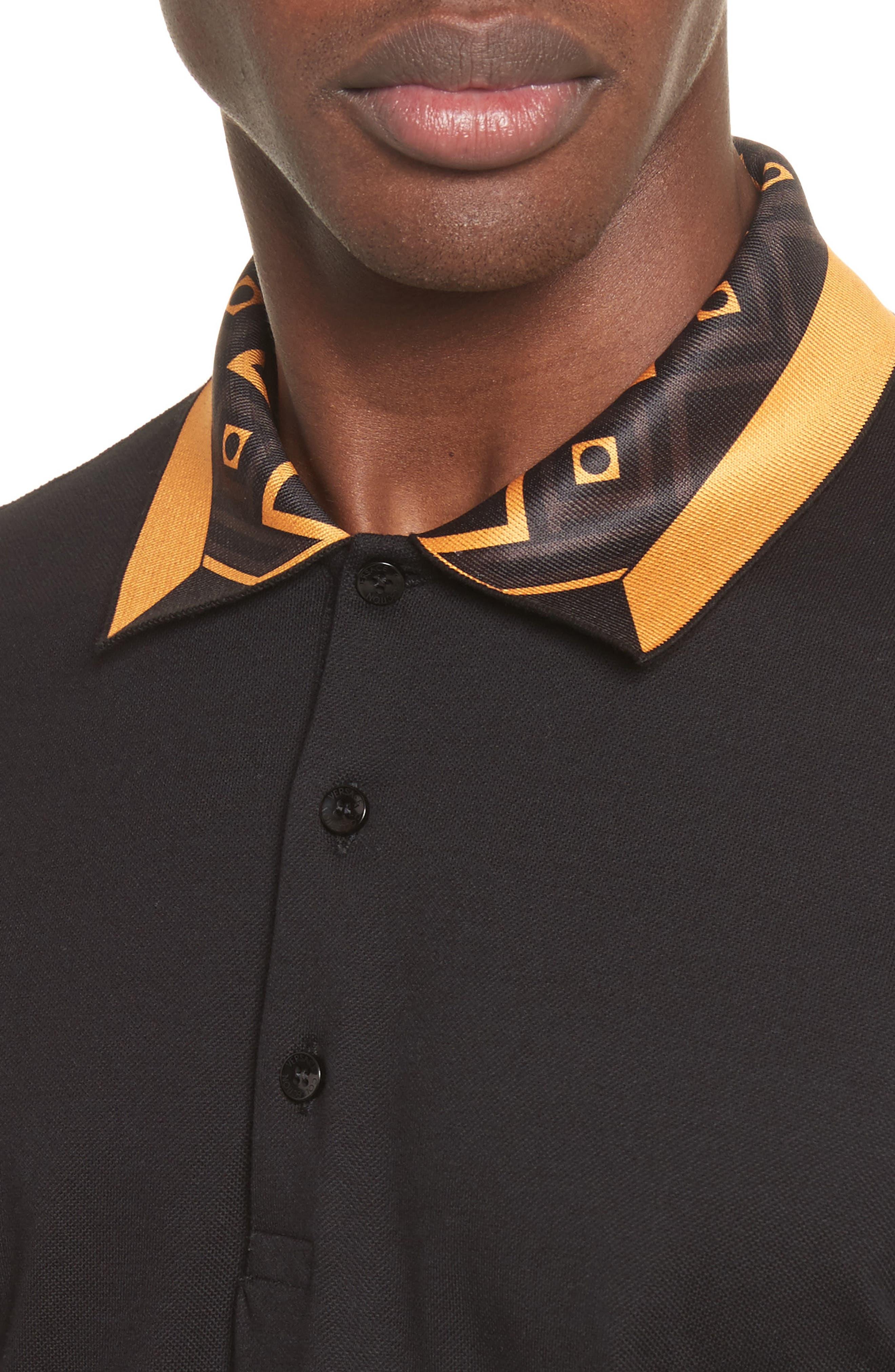 Print Collar Piqué Polo,                             Alternate thumbnail 4, color,                             Black Paint
