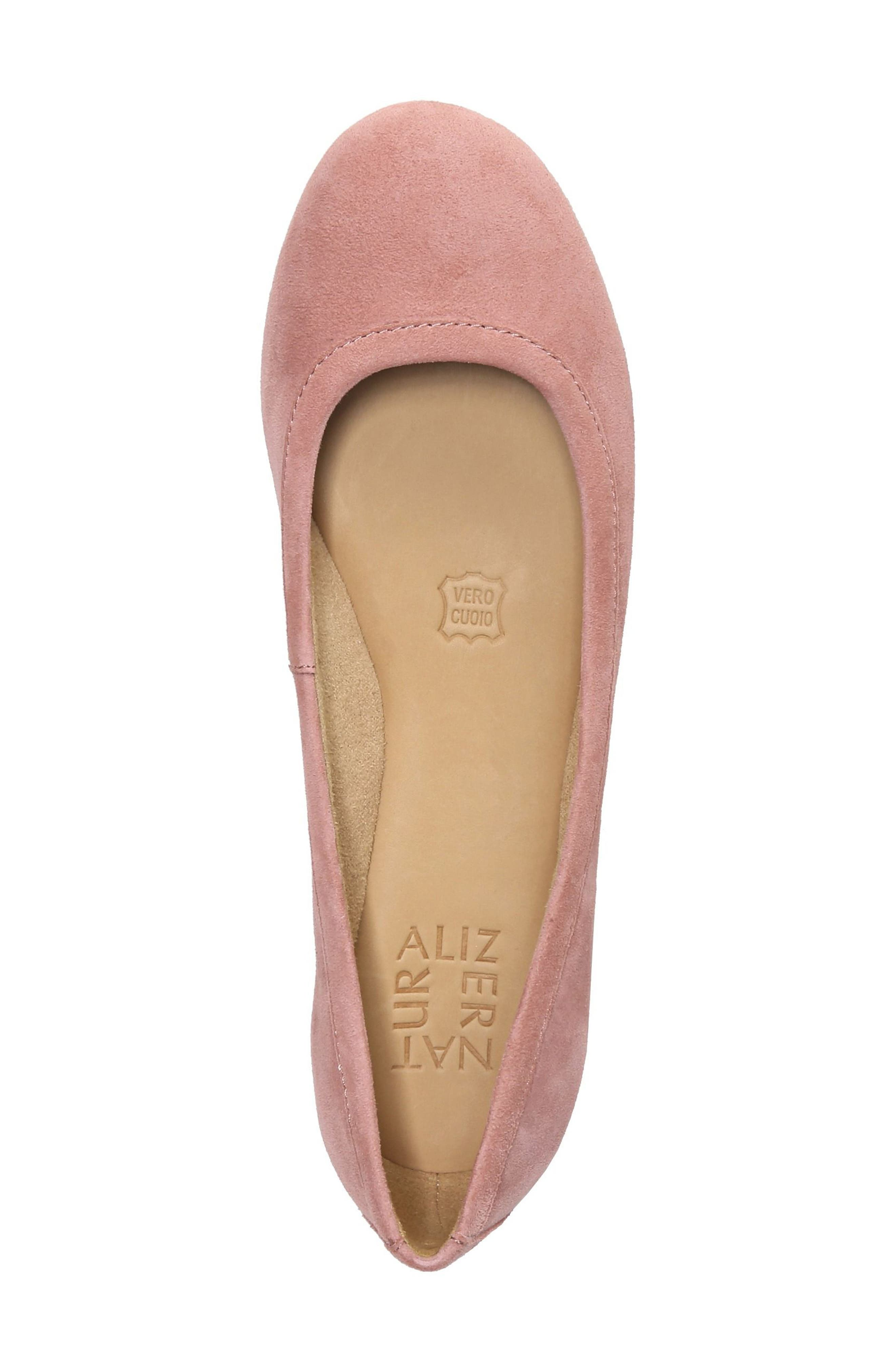 Brittany Ballet Flat,                             Alternate thumbnail 5, color,                             Peony Pink Suede
