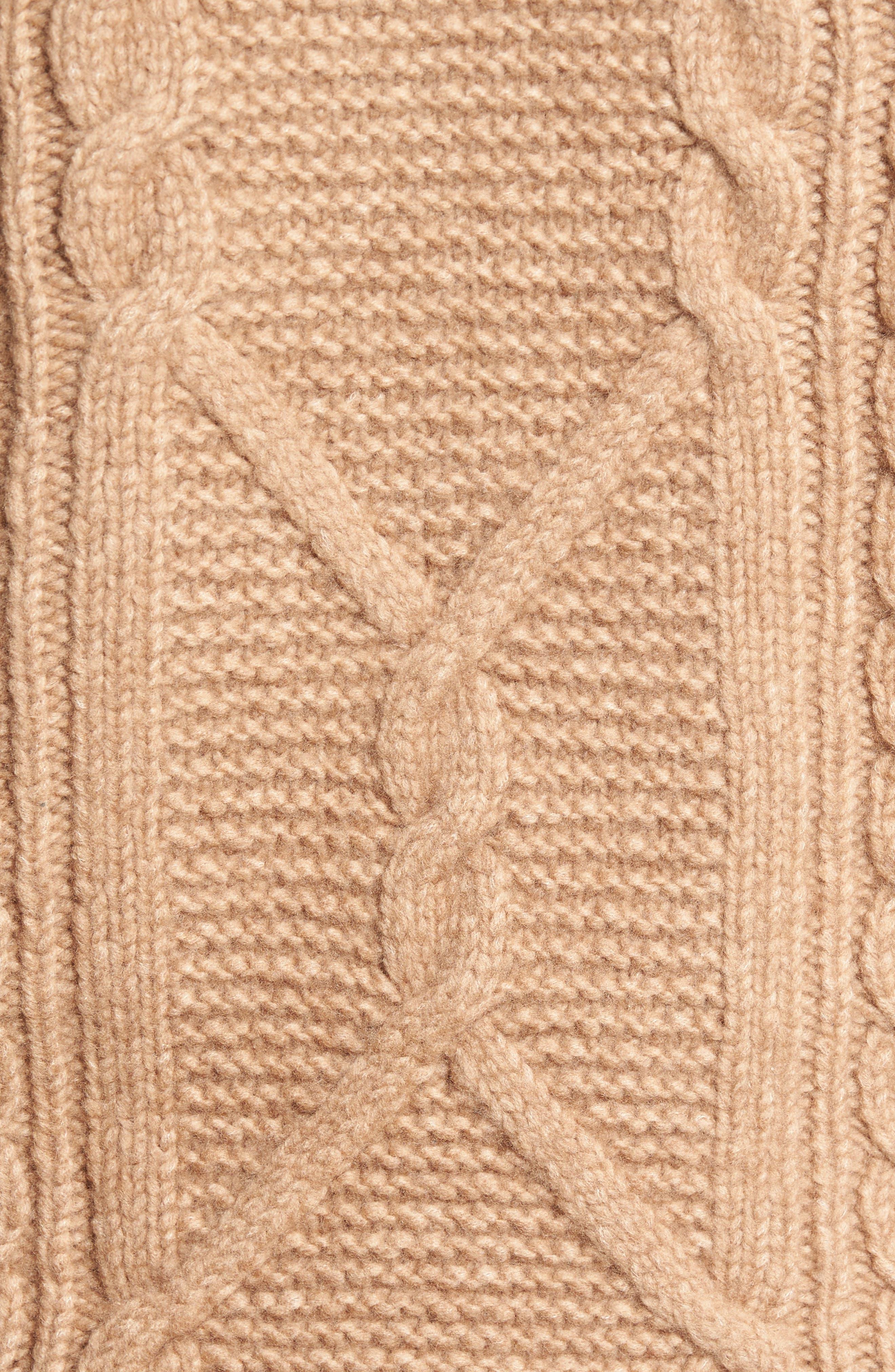 Cable Knit Crewneck Sweater,                             Alternate thumbnail 5, color,                             Camel