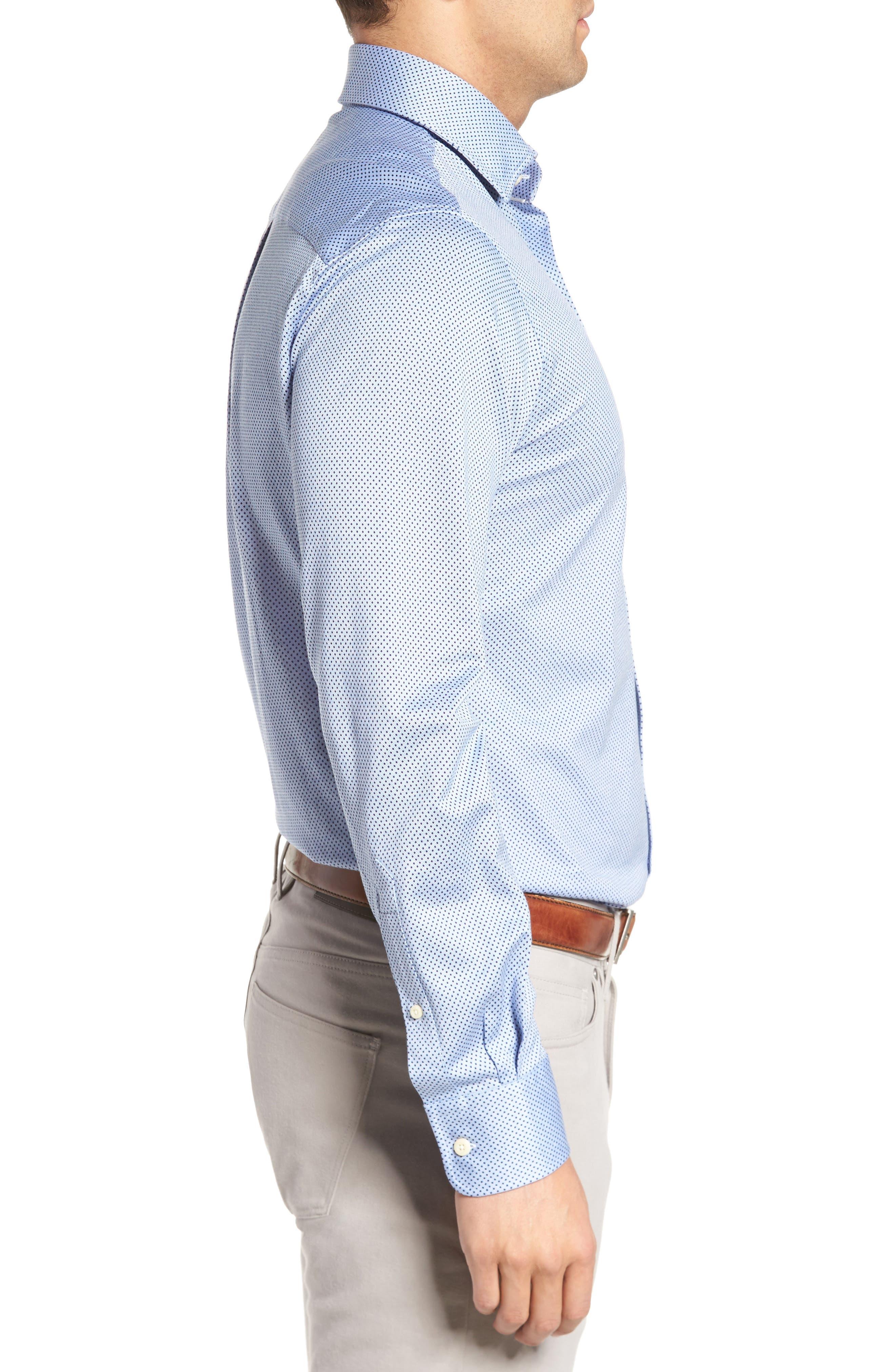 Mesh Dot Classic Fit Sport Shirt,                             Alternate thumbnail 3, color,                             Tar Heel Blue