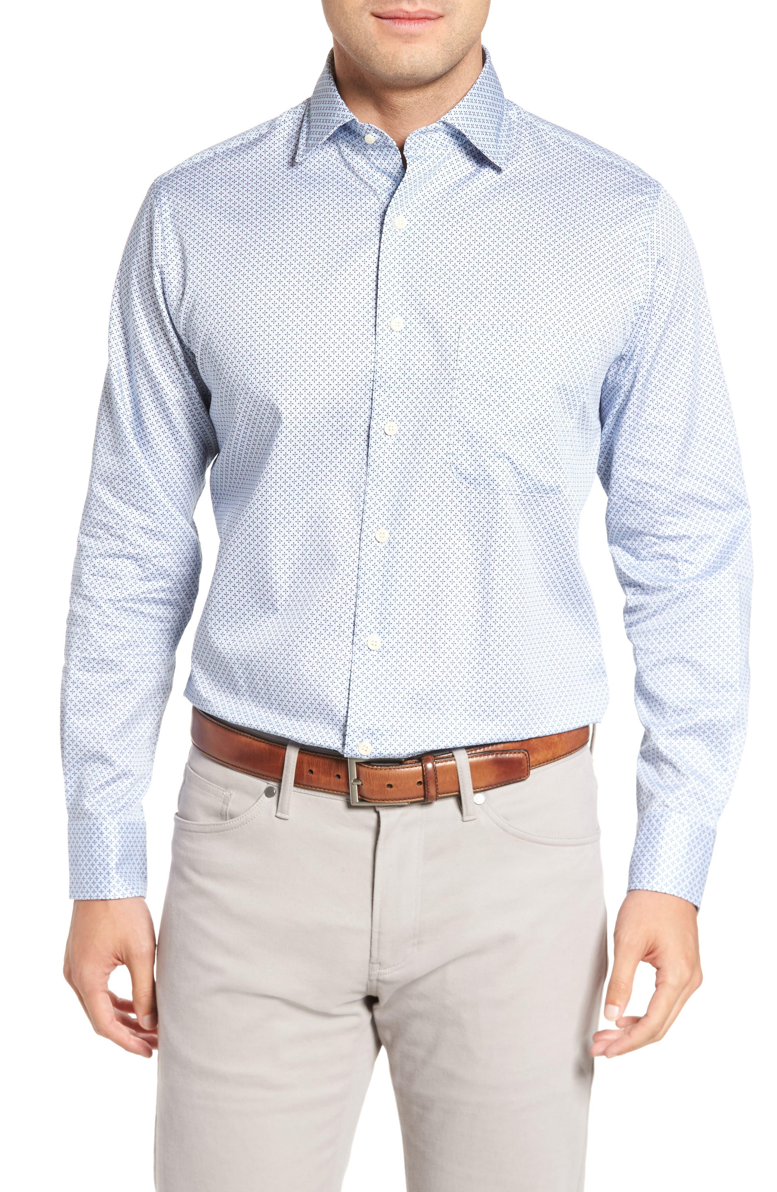 Flashback Classic Fit Print Sport Shirt,                         Main,                         color, Atlantic Blue