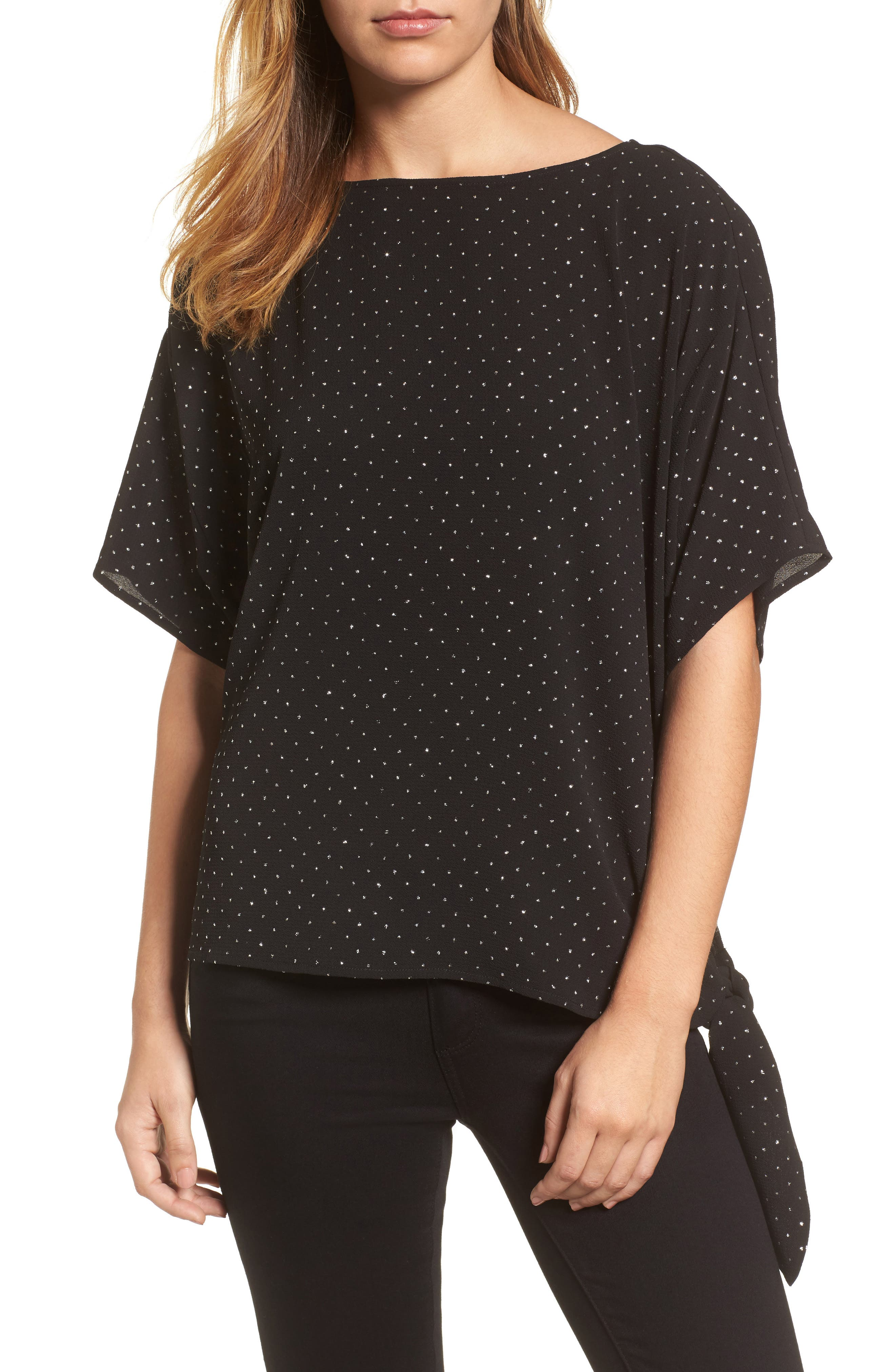 Starbright Tie Top,                             Main thumbnail 1, color,                             Black/ Silver