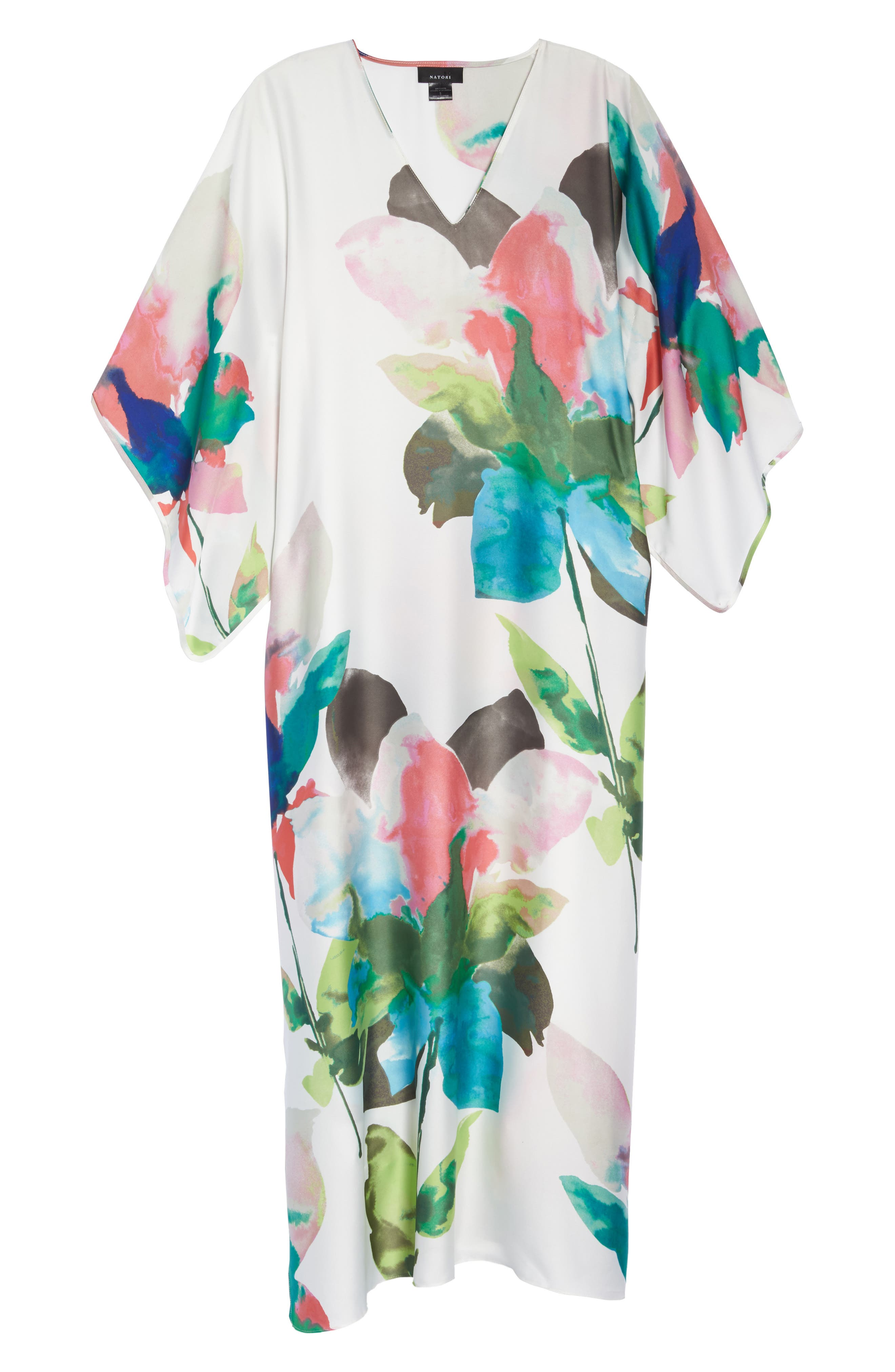 Alternate Image 6  - Natori Water Lily Print Satin Caftan