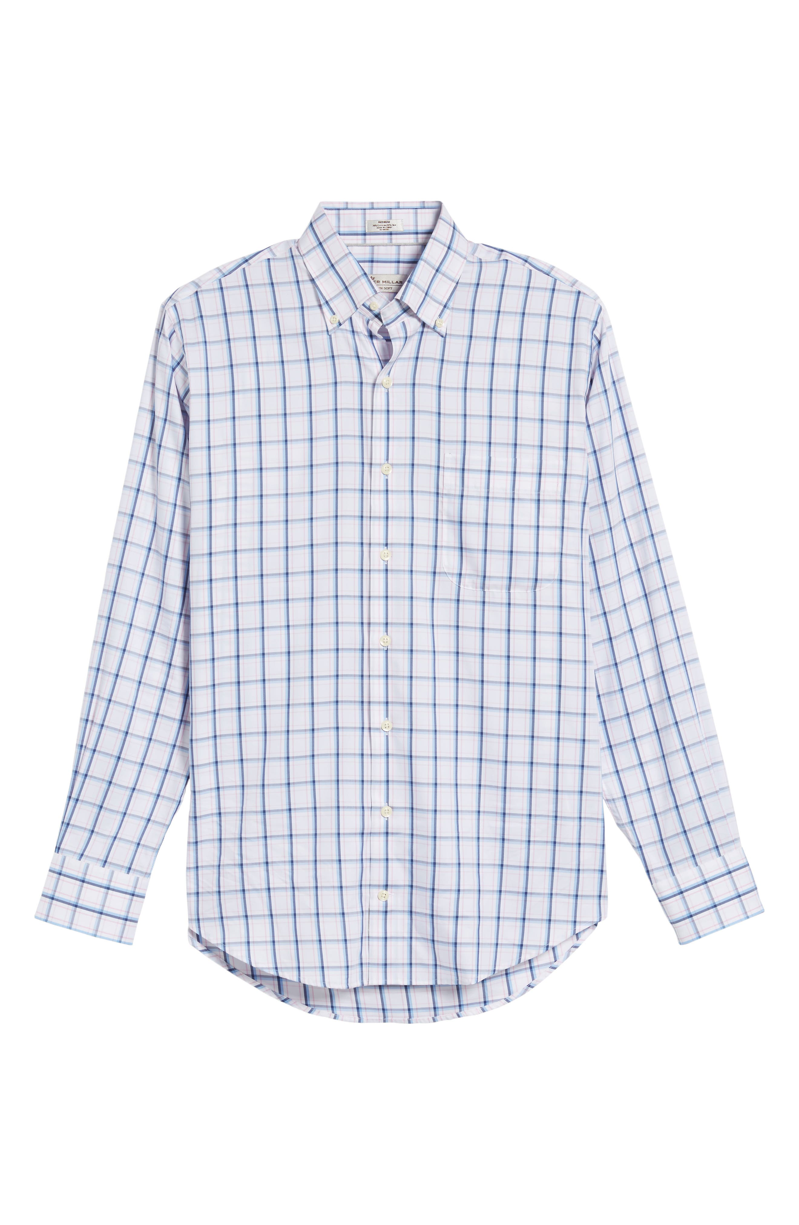 Crown Windowpane Sport Shirt,                             Alternate thumbnail 6, color,                             Tahoe Blue