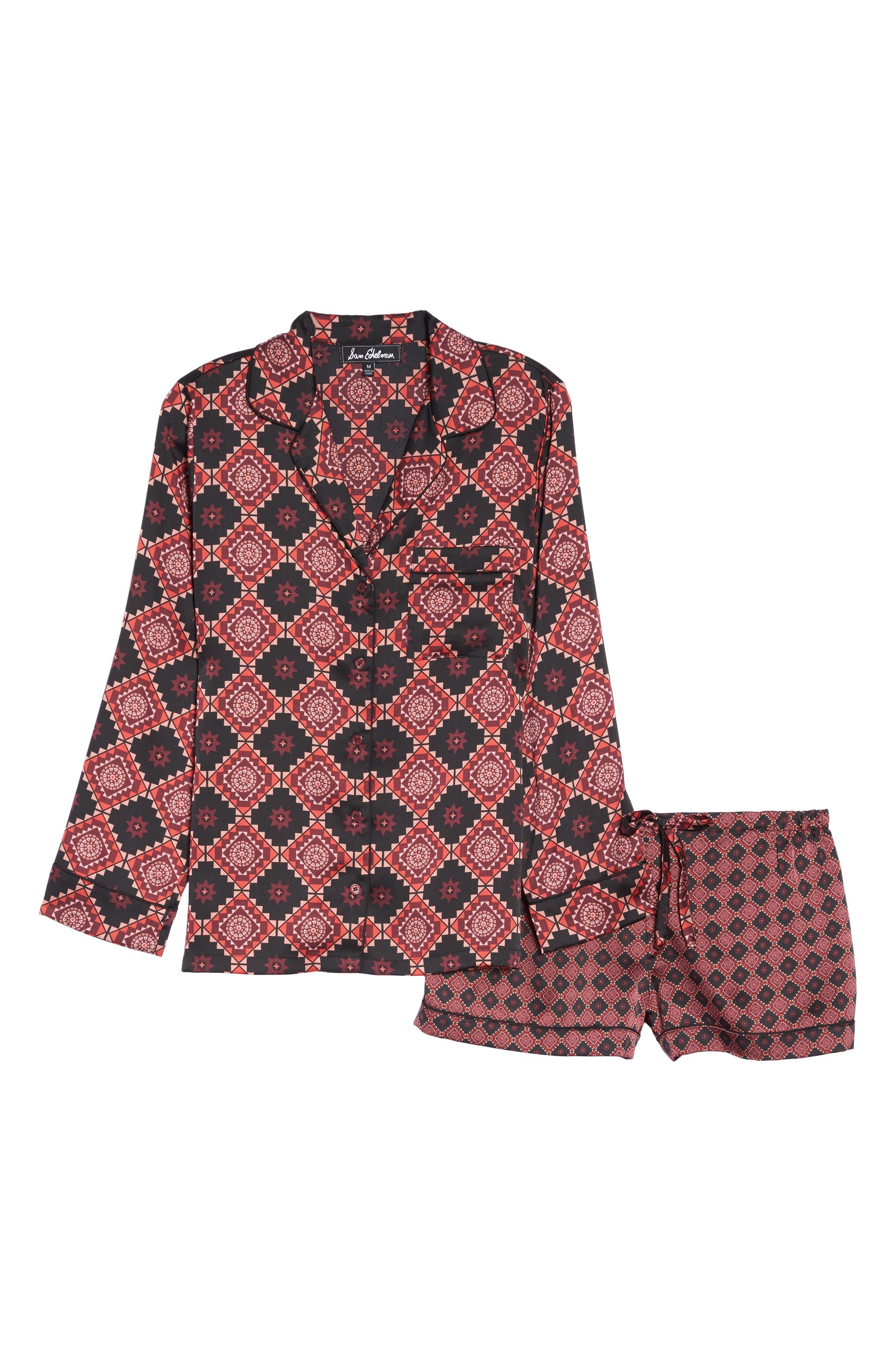 Short Pajamas & Eye Mask Set,                             Alternate thumbnail 6, color,                             Large Windsor Wine Aztec