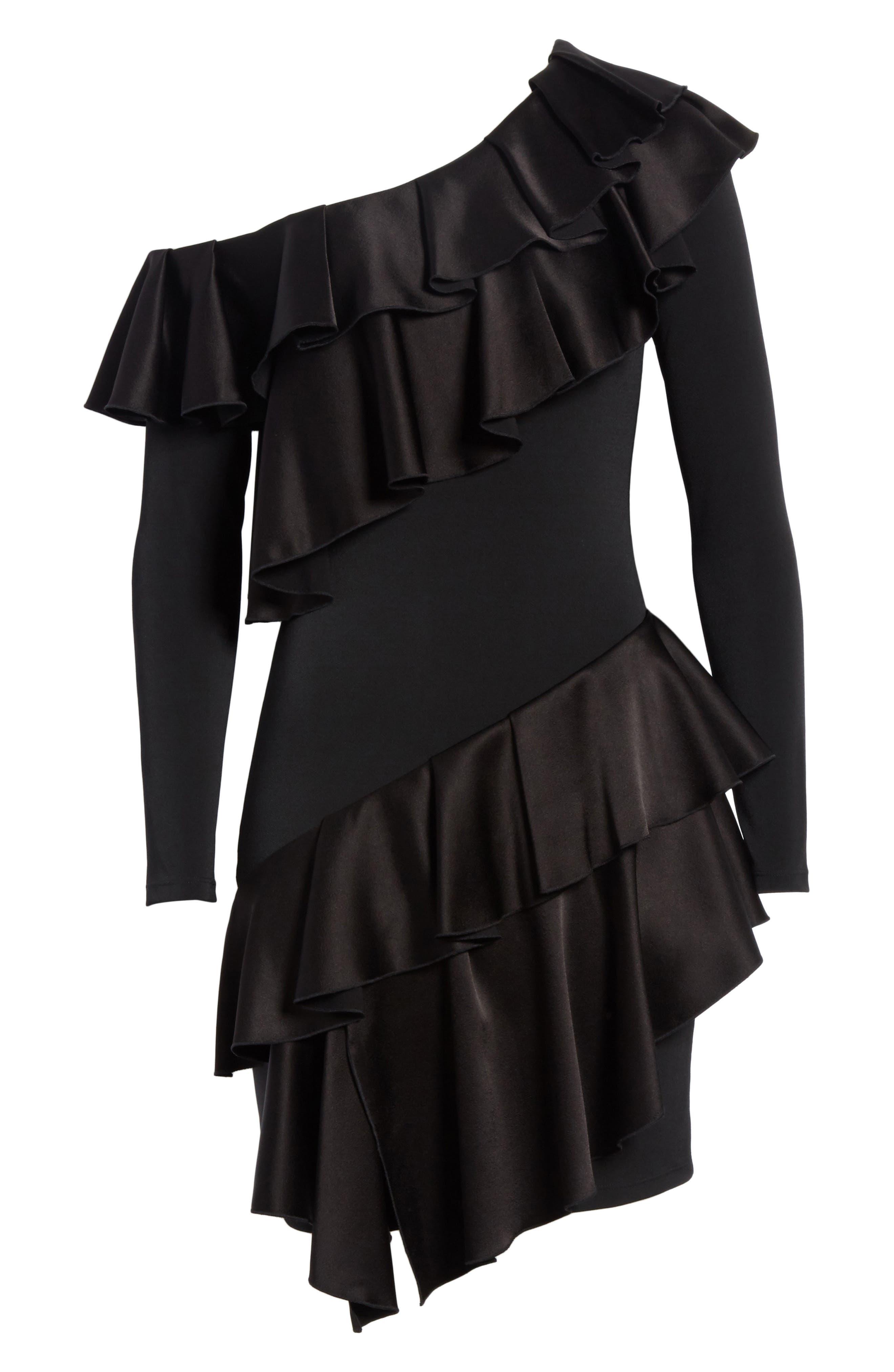 Izzy One-Shoulder Ruffle Dress,                             Alternate thumbnail 6, color,                             Black