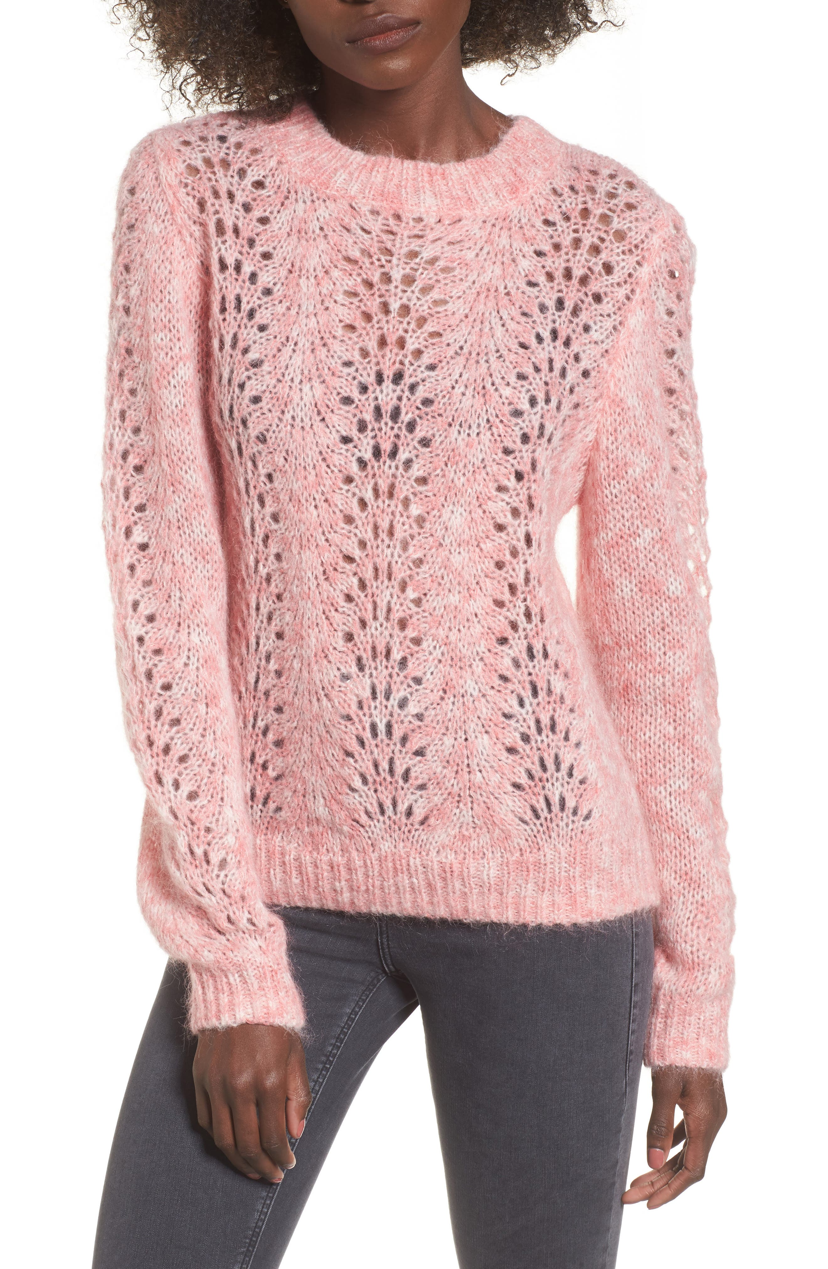 Strawberry Cream Open Knit Sweater,                         Main,                         color, Pink